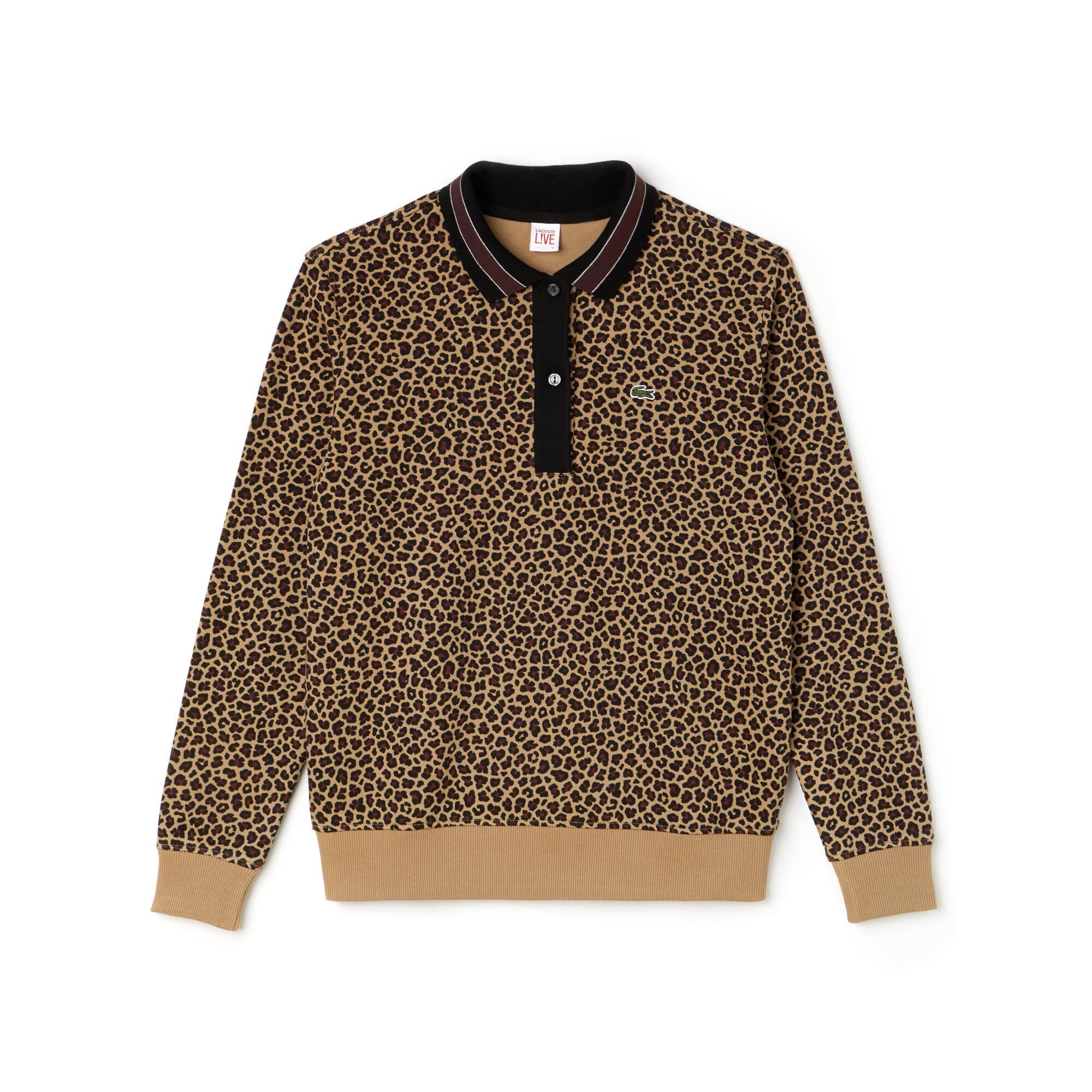 Polo de mujer Lacoste LIVE boxy fit en interlock de algodón con estampado de leopardo
