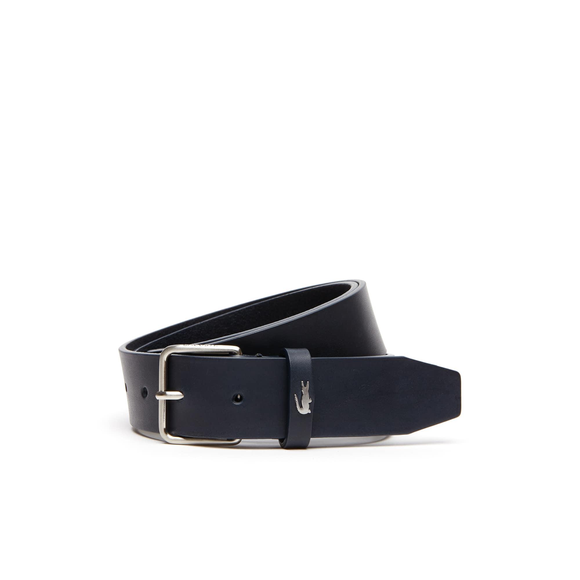 Cinturón de cuero con hebilla de lengüeta grabada Lacoste
