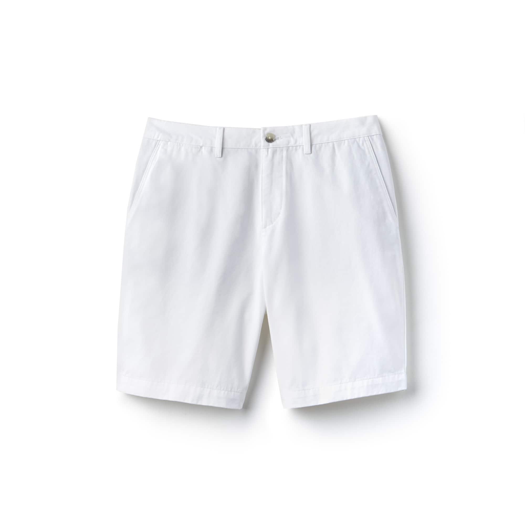 Bermudas regular fit de gabardina de algodón liso