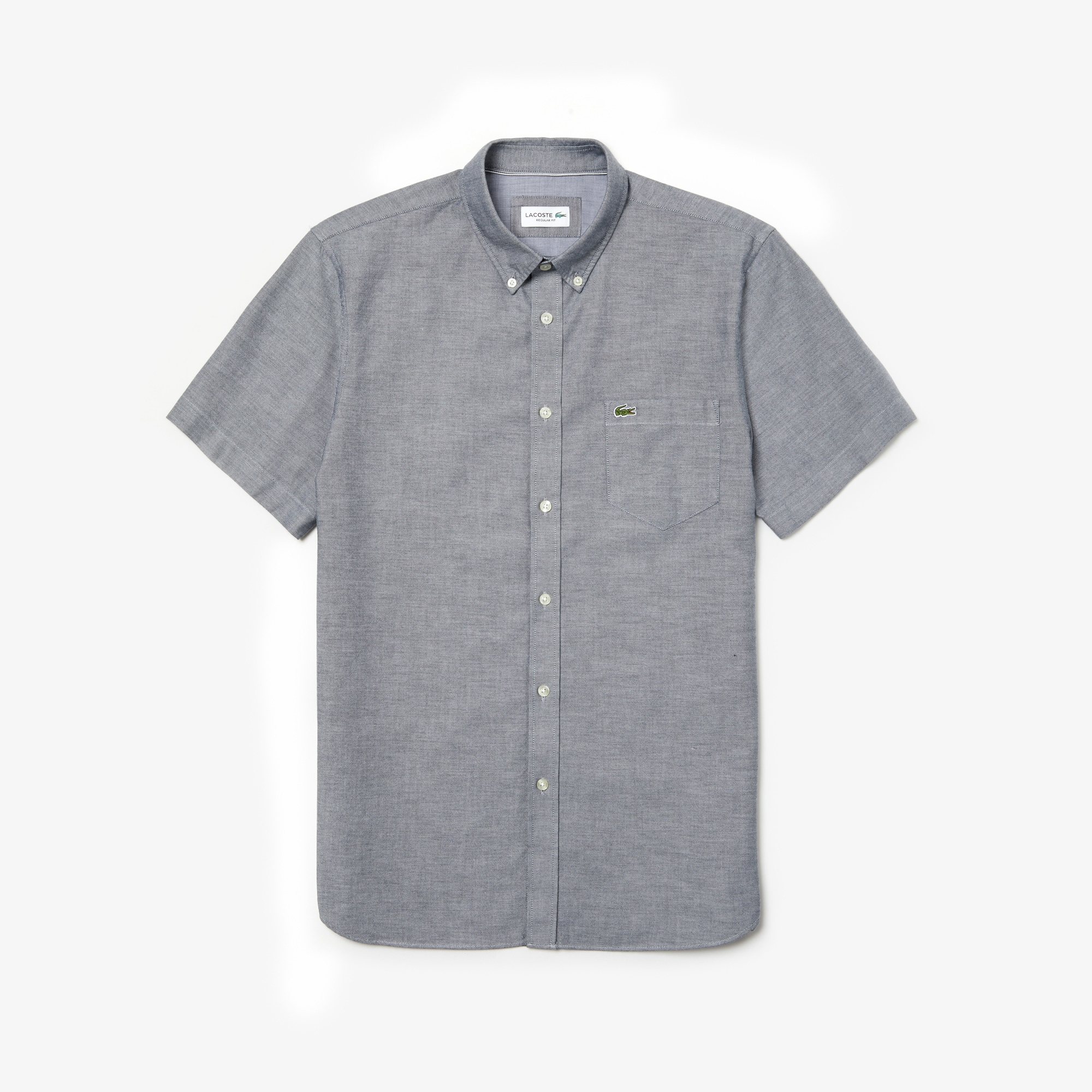 Camisa Regular Fit De Manga Corta De Algodón Oxford Liso