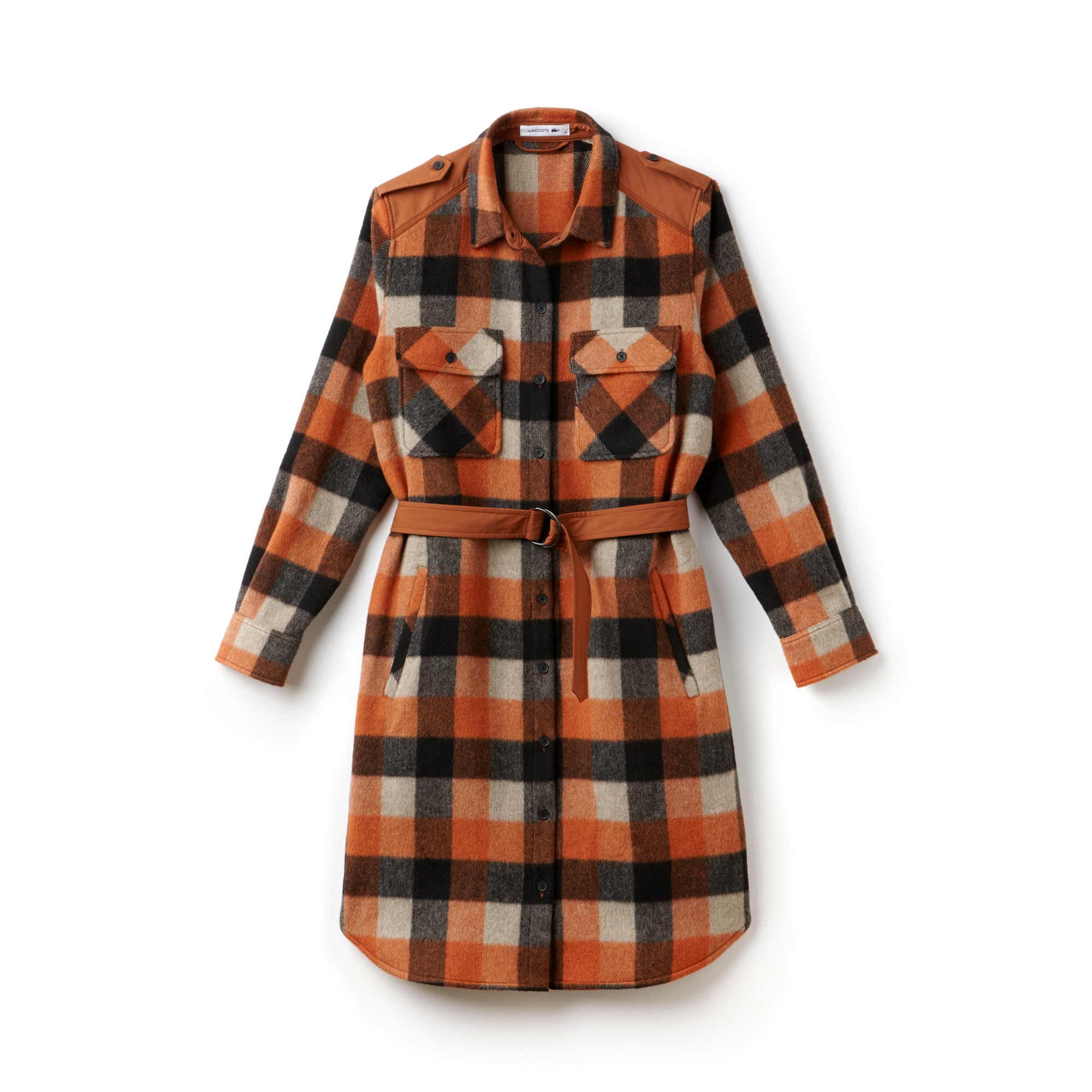Women's Fashion Show Wool Flannel Check Shirt Dress