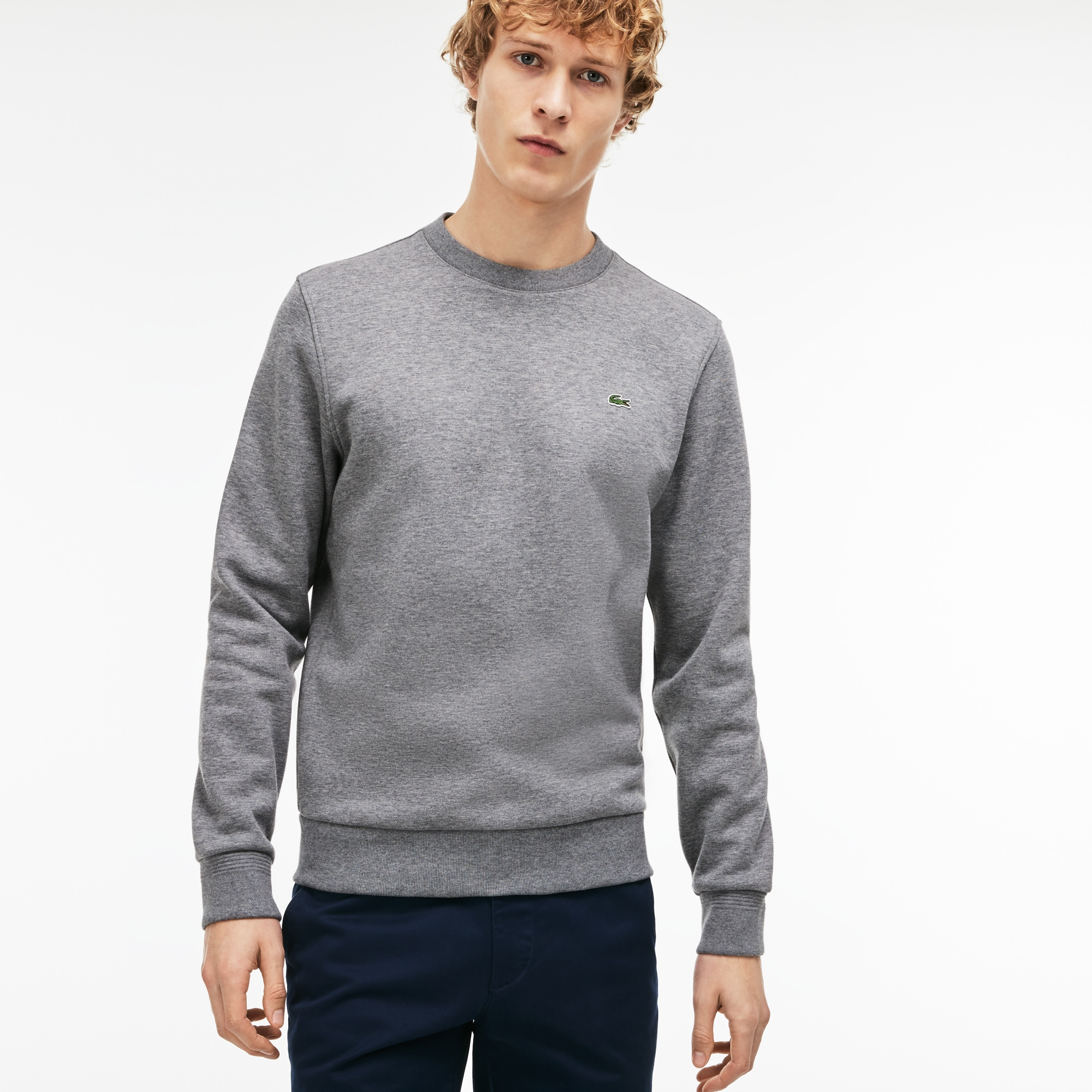 Men's Crew Neck Contrast Accents Fleece Sweatshirt