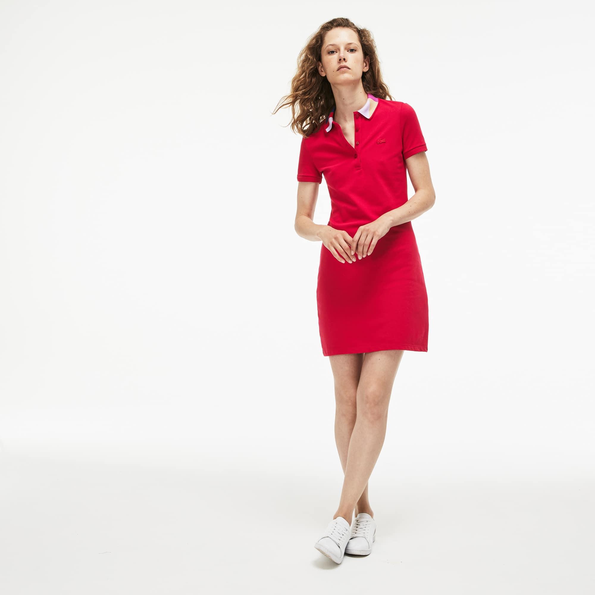 Vestido Polo De Mujer Slim Fit En Mini Piqué Con Cuello De Jacquard Color Block