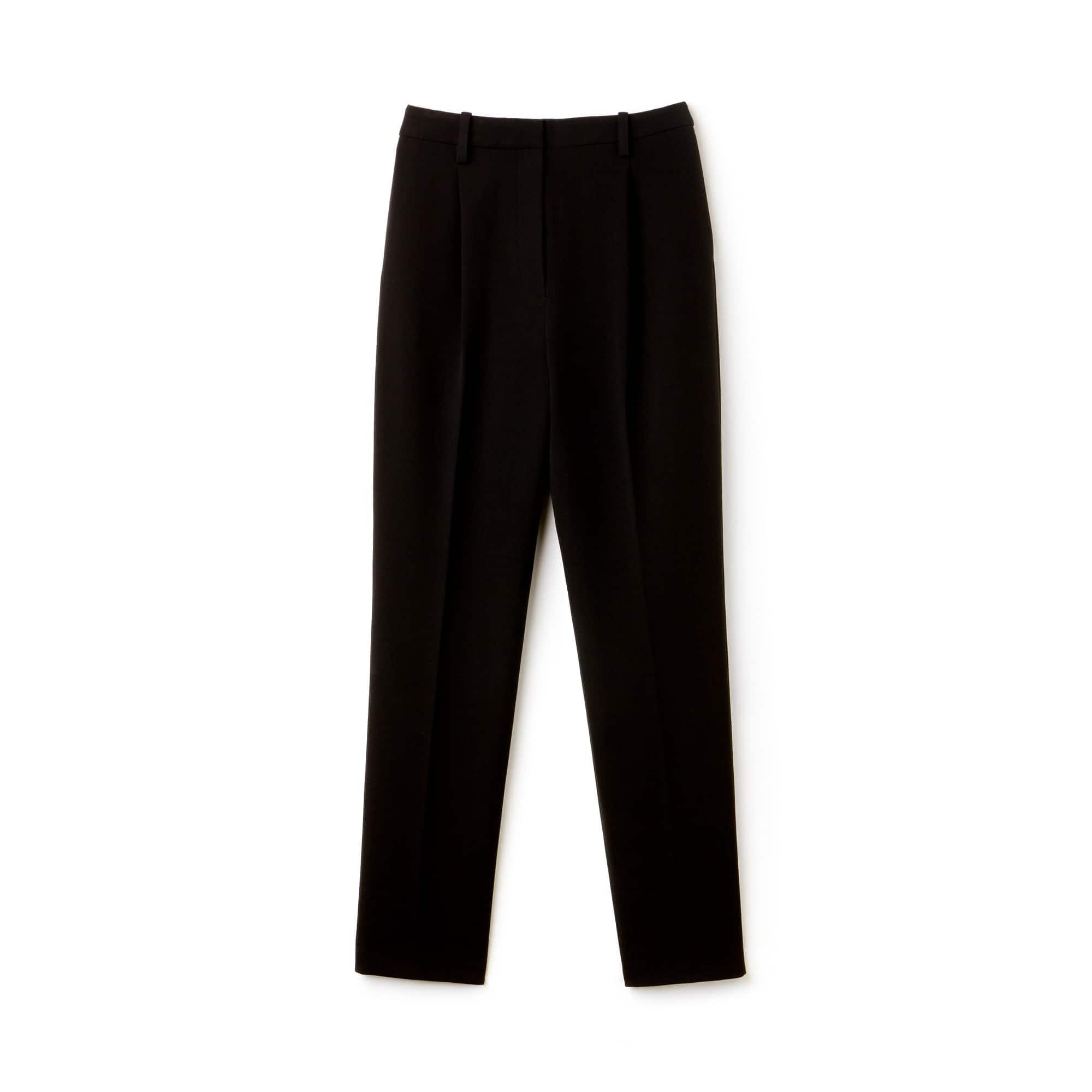 Pantalon carotte à pinces slim fit en gabardine de coton stretch