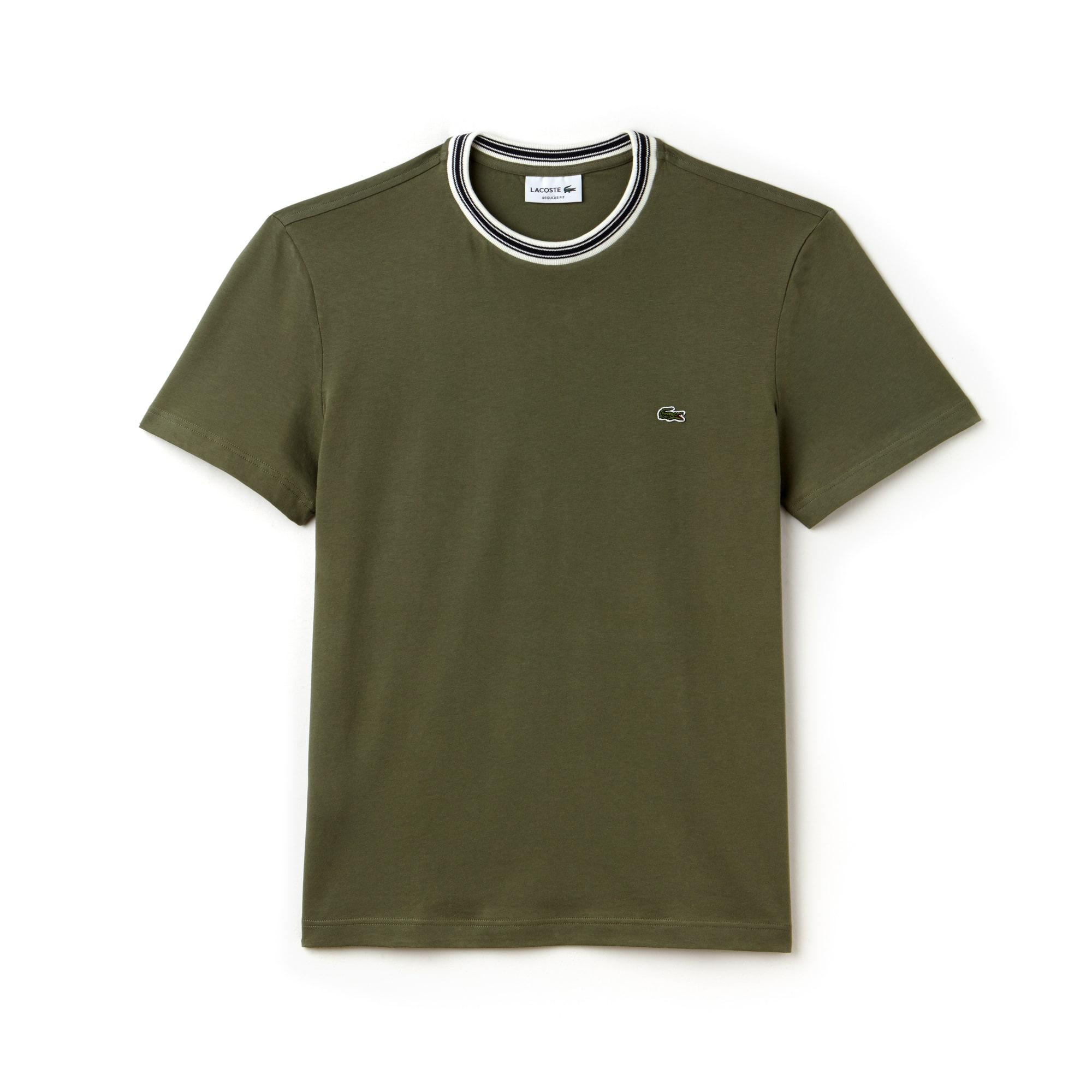 T-shirt col rond rayé en jersey de coton uni