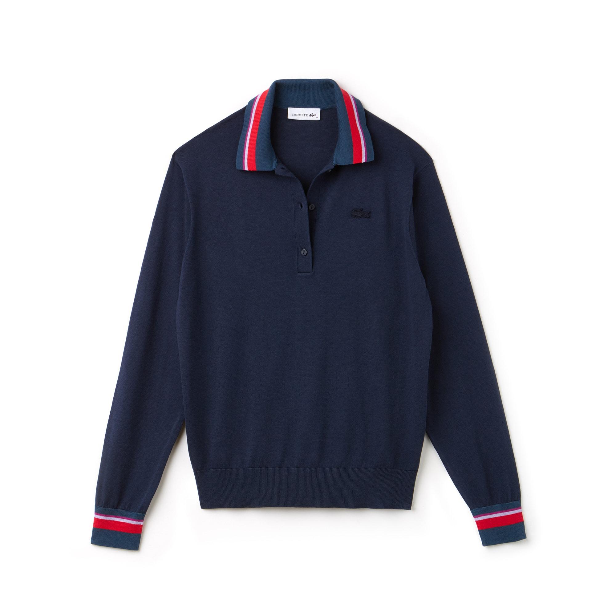 Pull col polo jersey de soie et coton avec finitions contrastées