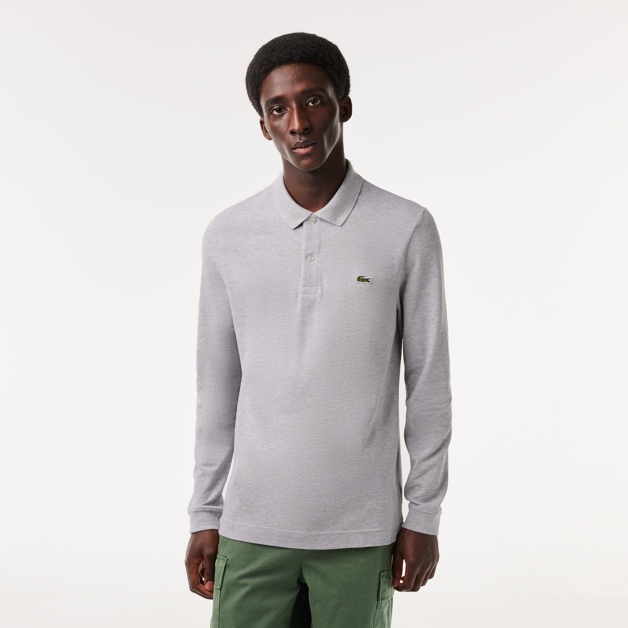 Polo slim fit Lacoste à manches longues en petit piqué uni