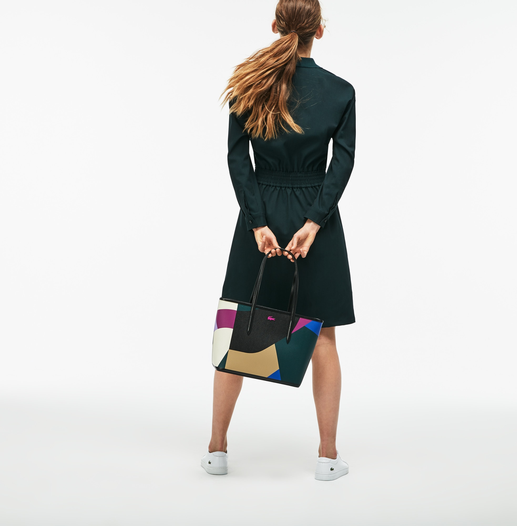 Sac cabas zippé Chantaco en cuir imprimé color block