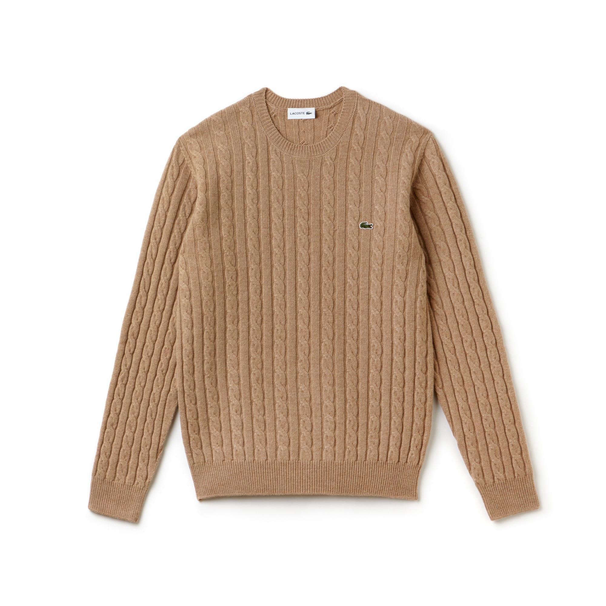 Pull col rond en laine torsadée avec effet de maille