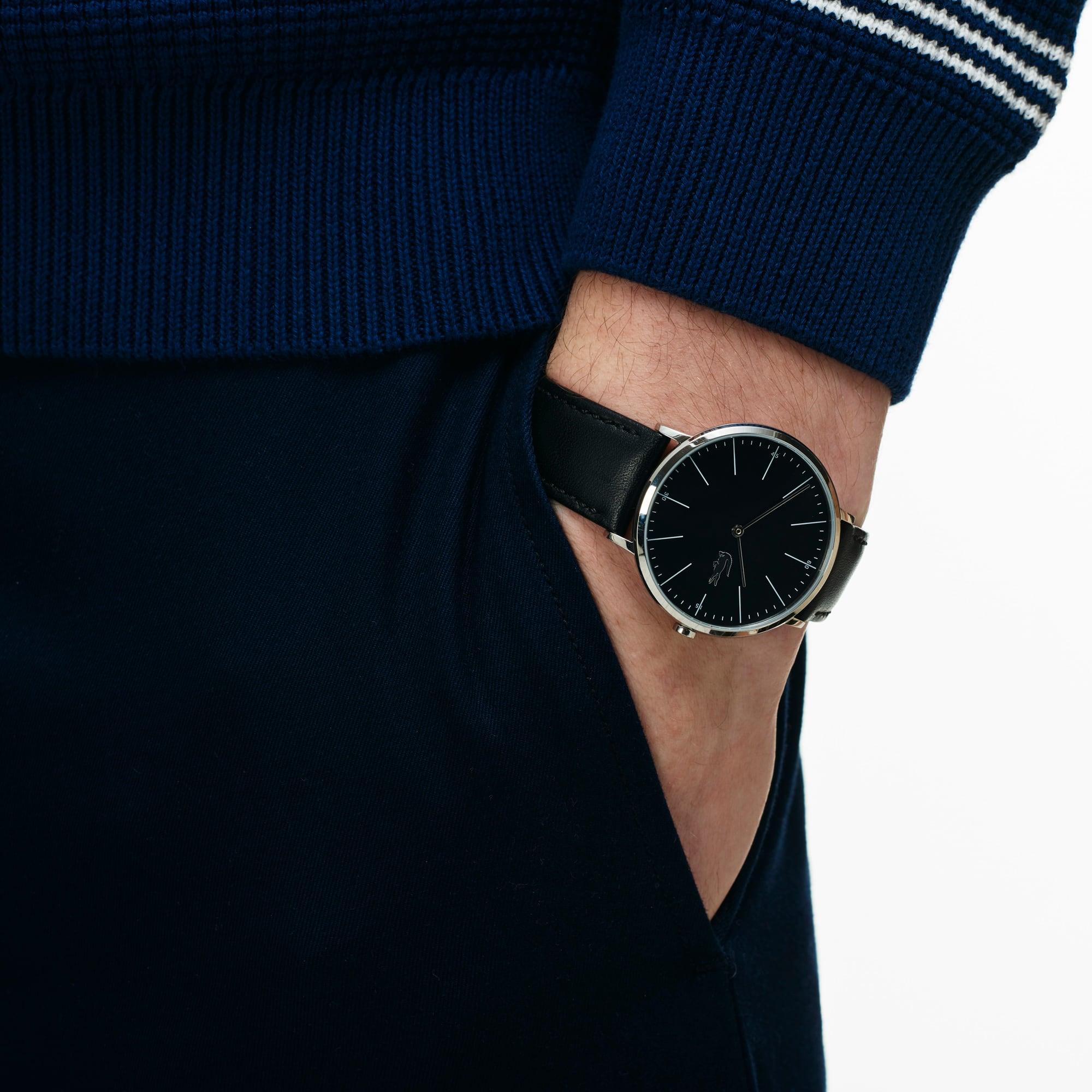 Montre Moon Ultrafine Homme avec Bracelet Noir en Cuir