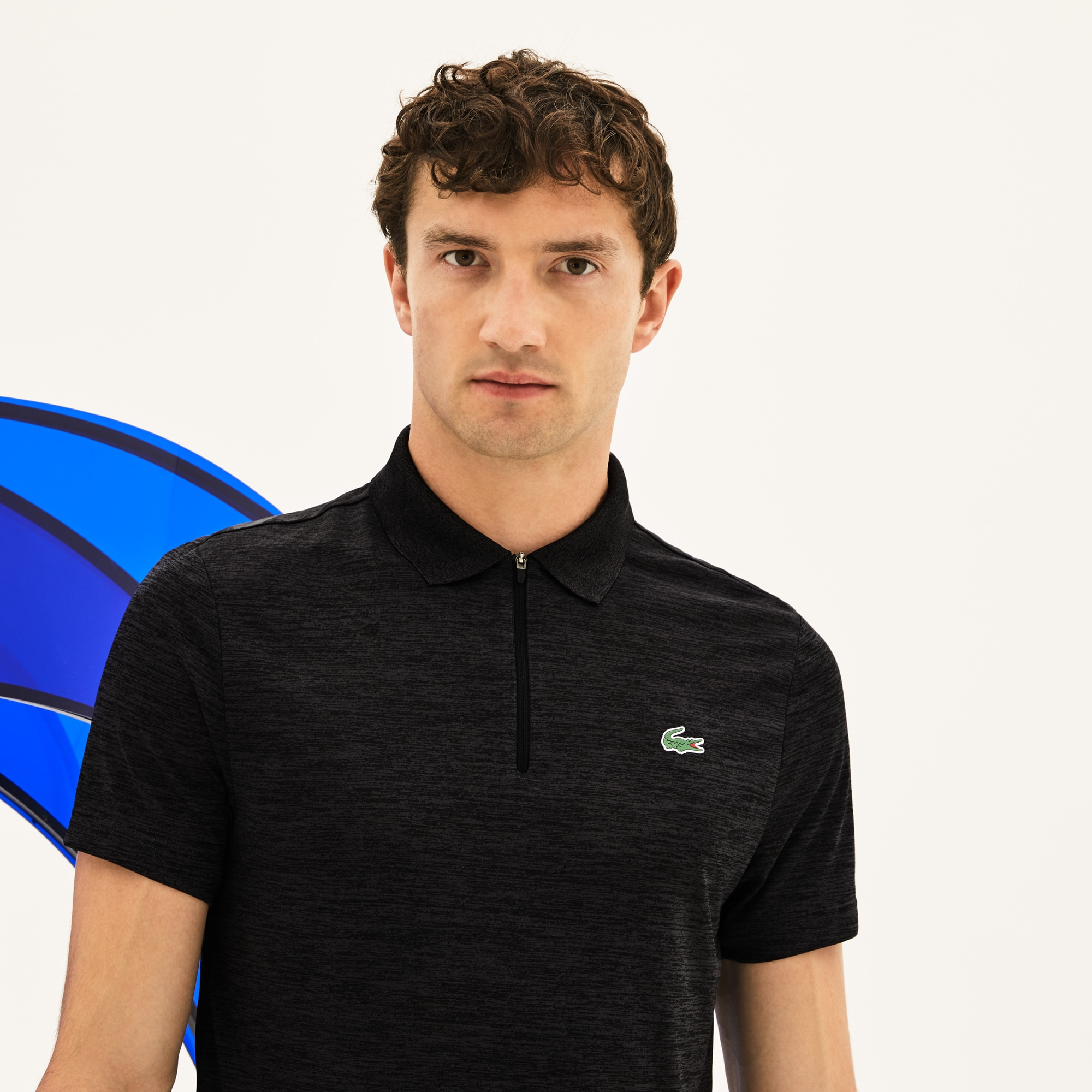 Polo Lacoste SPORT Collection Novak Djokovic - Off Court en jersey technique chiné