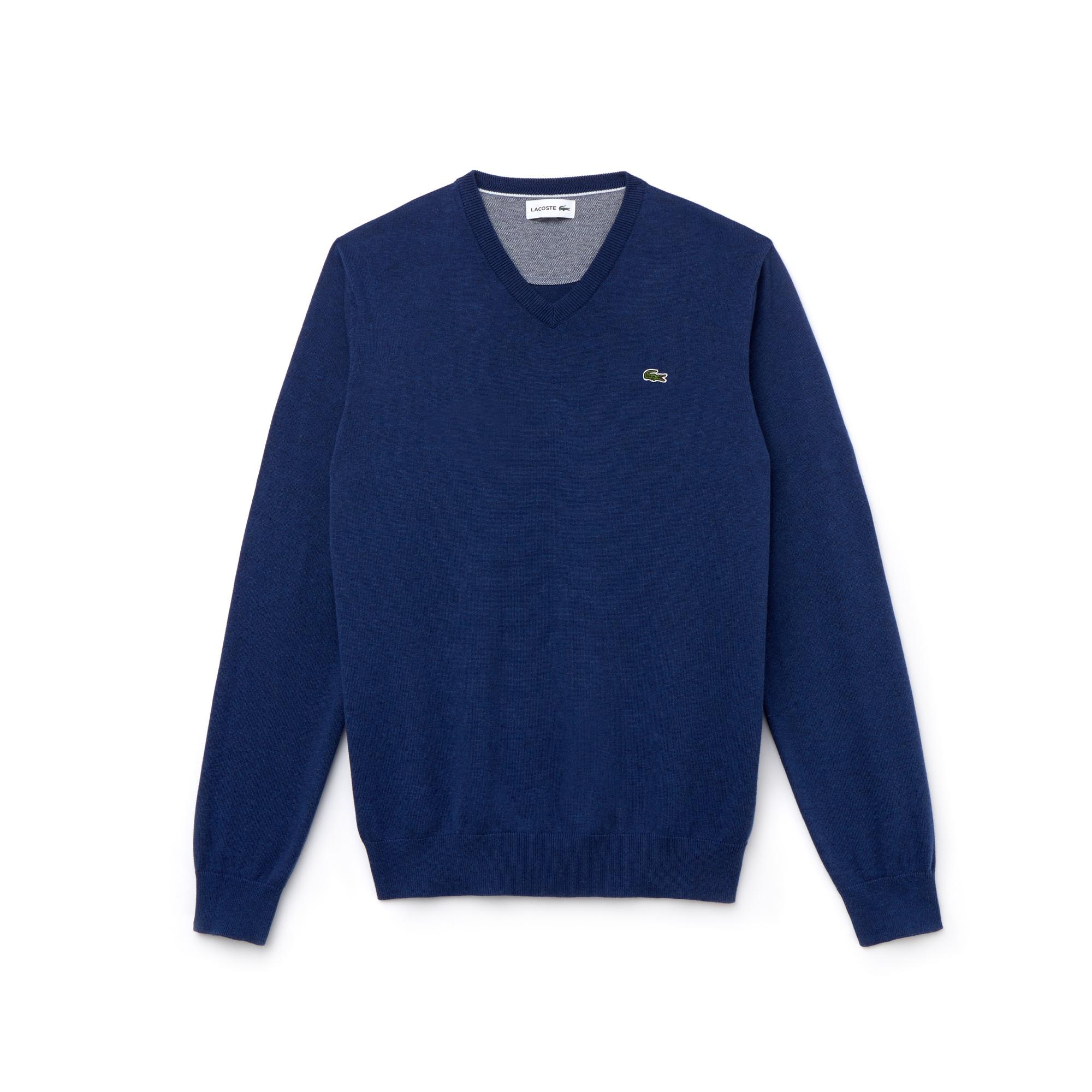 Pull col V en jersey de coton uni et détail piqué caviar