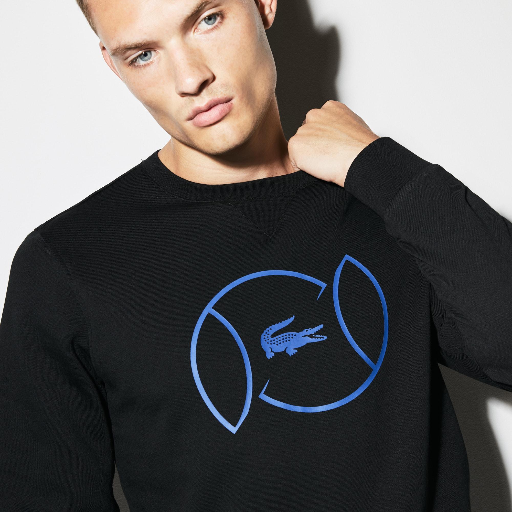 Sweatshirt col rond Tennis Lacoste SPORT en molleton avec marquage
