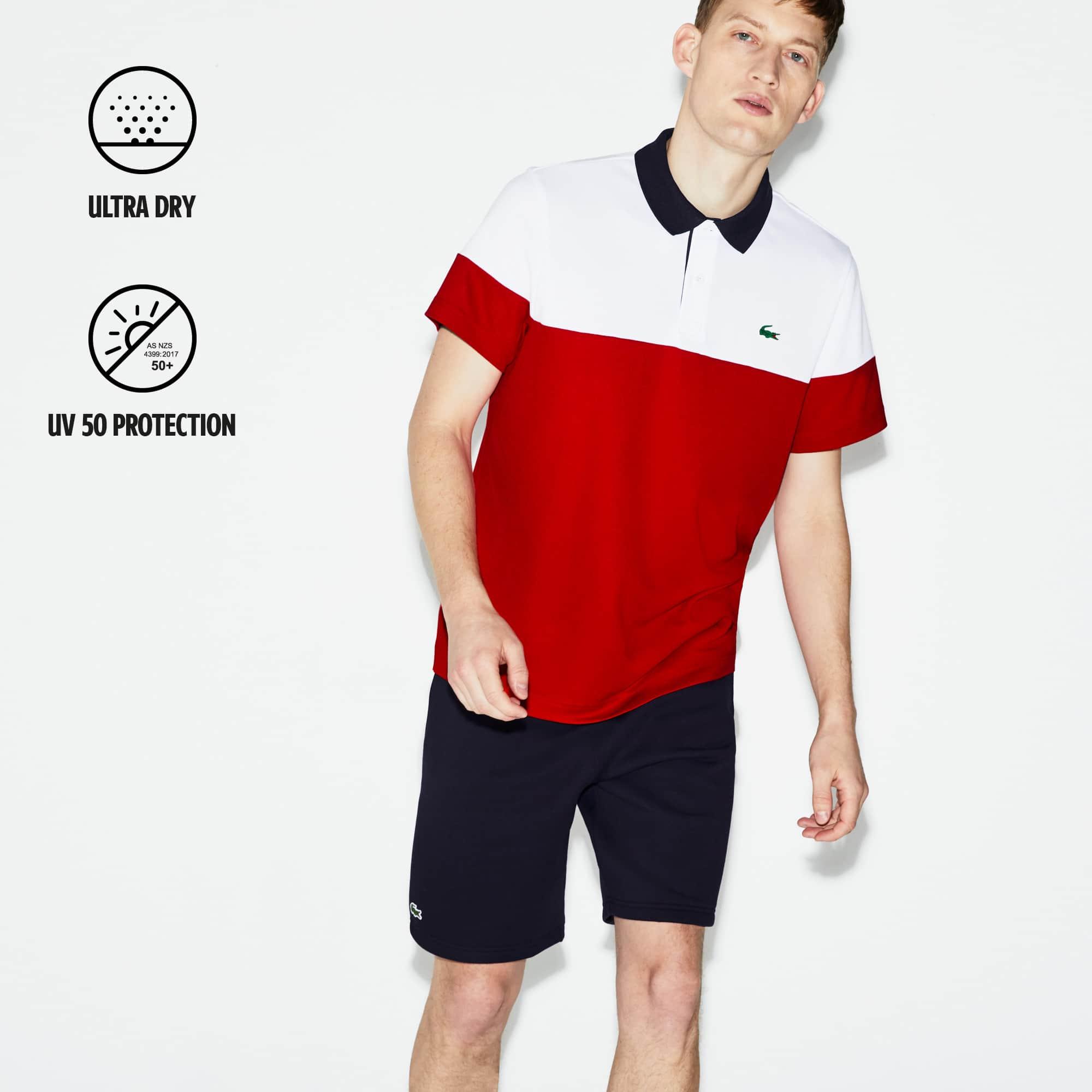 Polo ultra dry et uv protection Lacoste en bleu pour homme