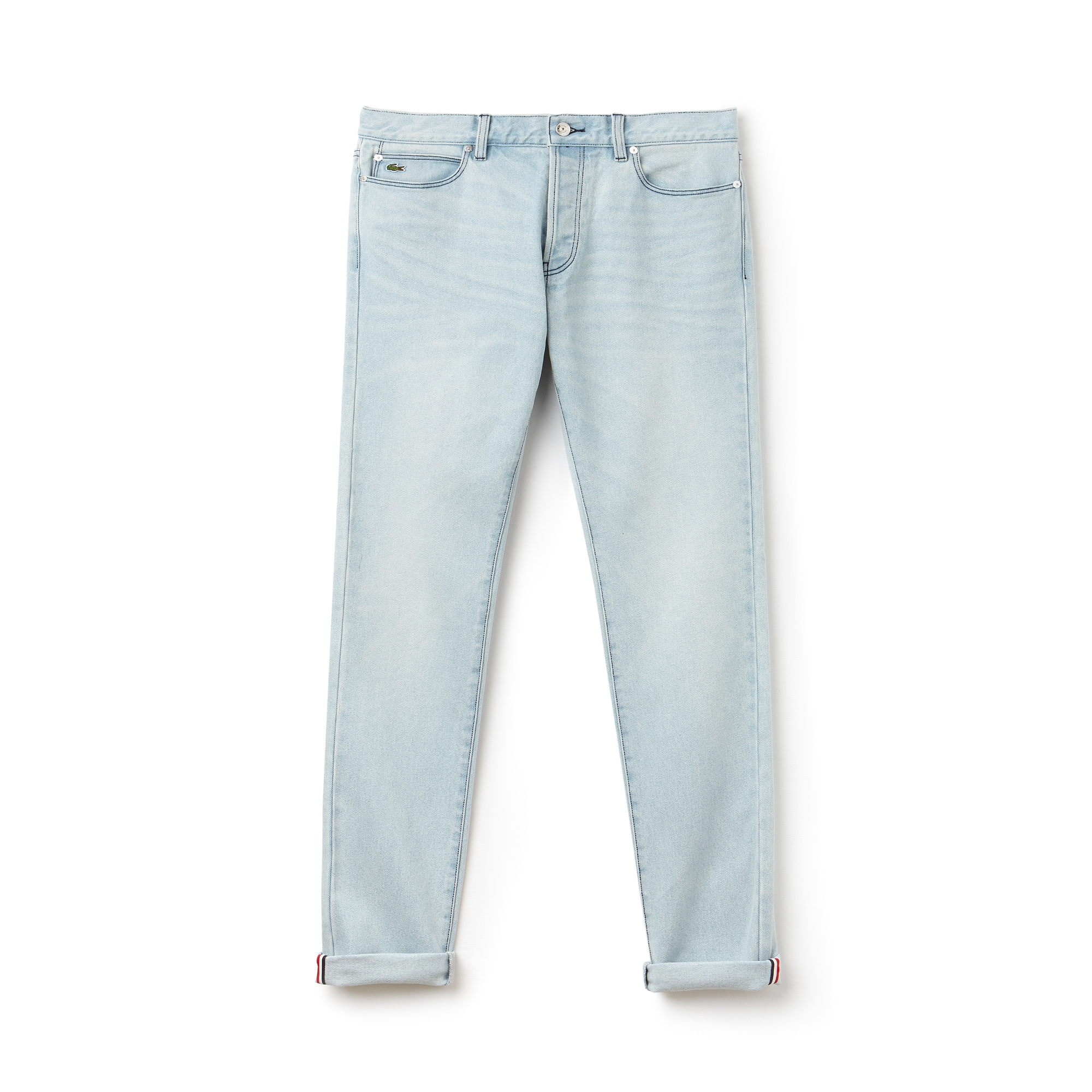 Jean 5 poches Lacoste LIVE en denim stretch avec revers