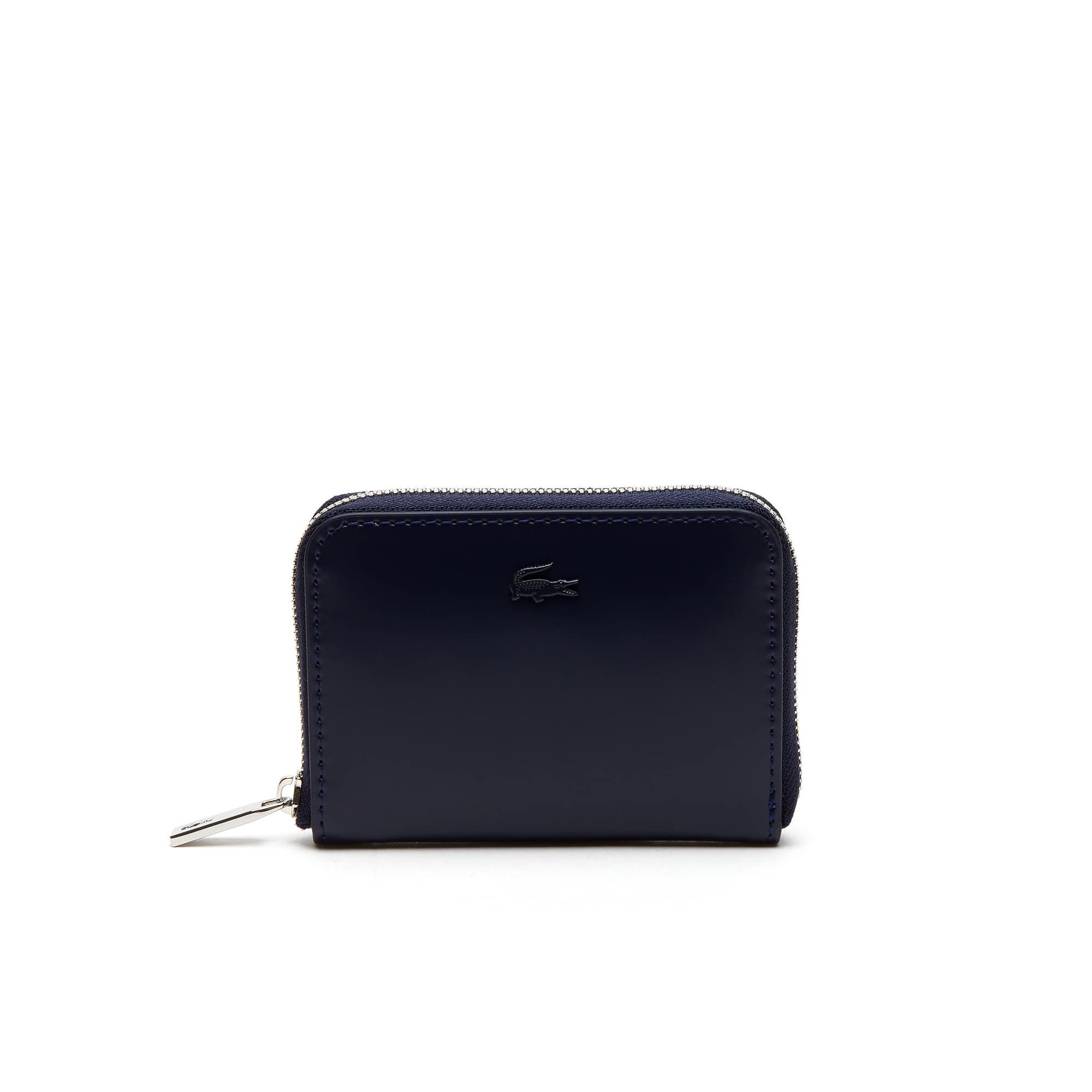 Porte monnaie zippé Mini golf en cuir glacé uni