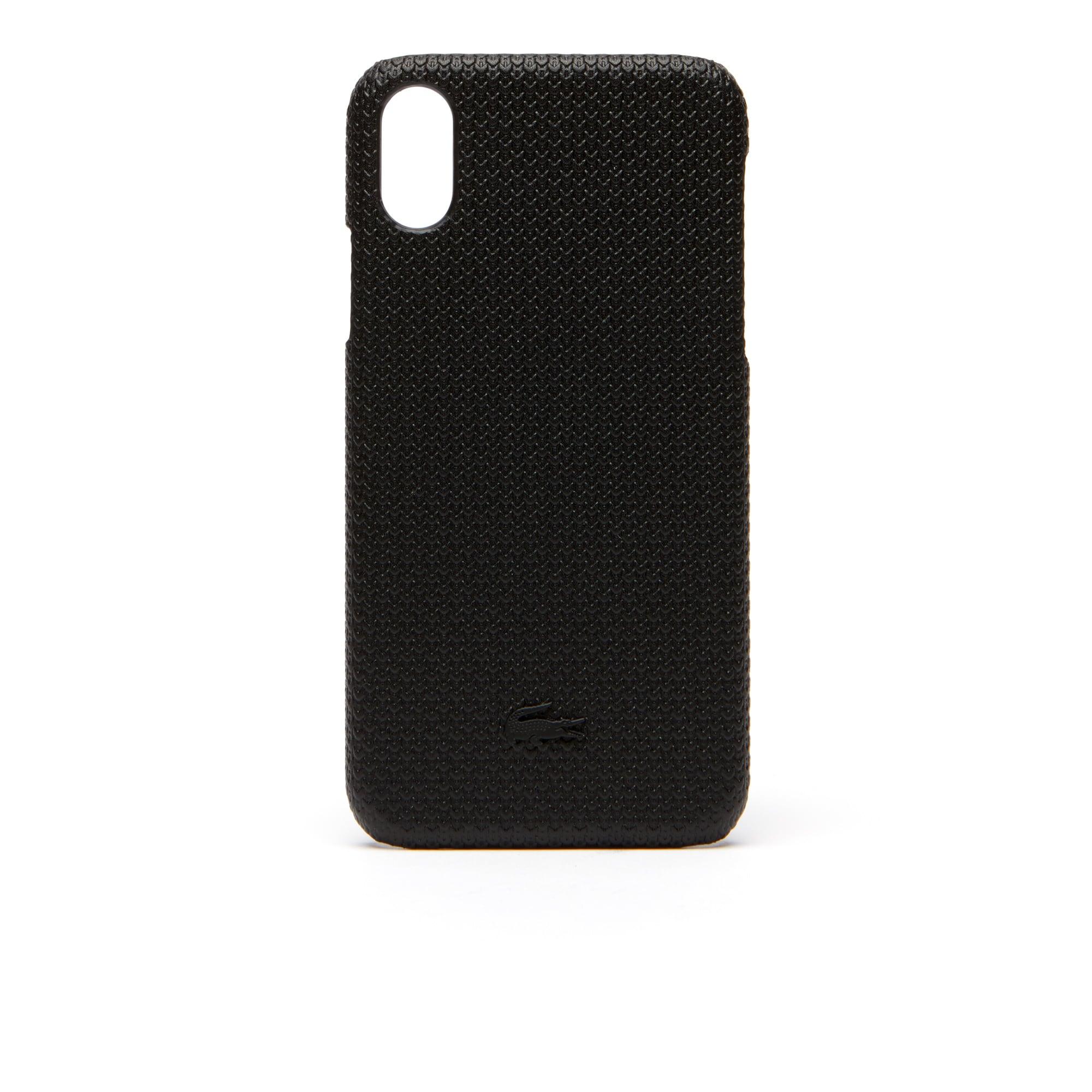 Coque iPhone X Chantaco en cuir piqué mat uni
