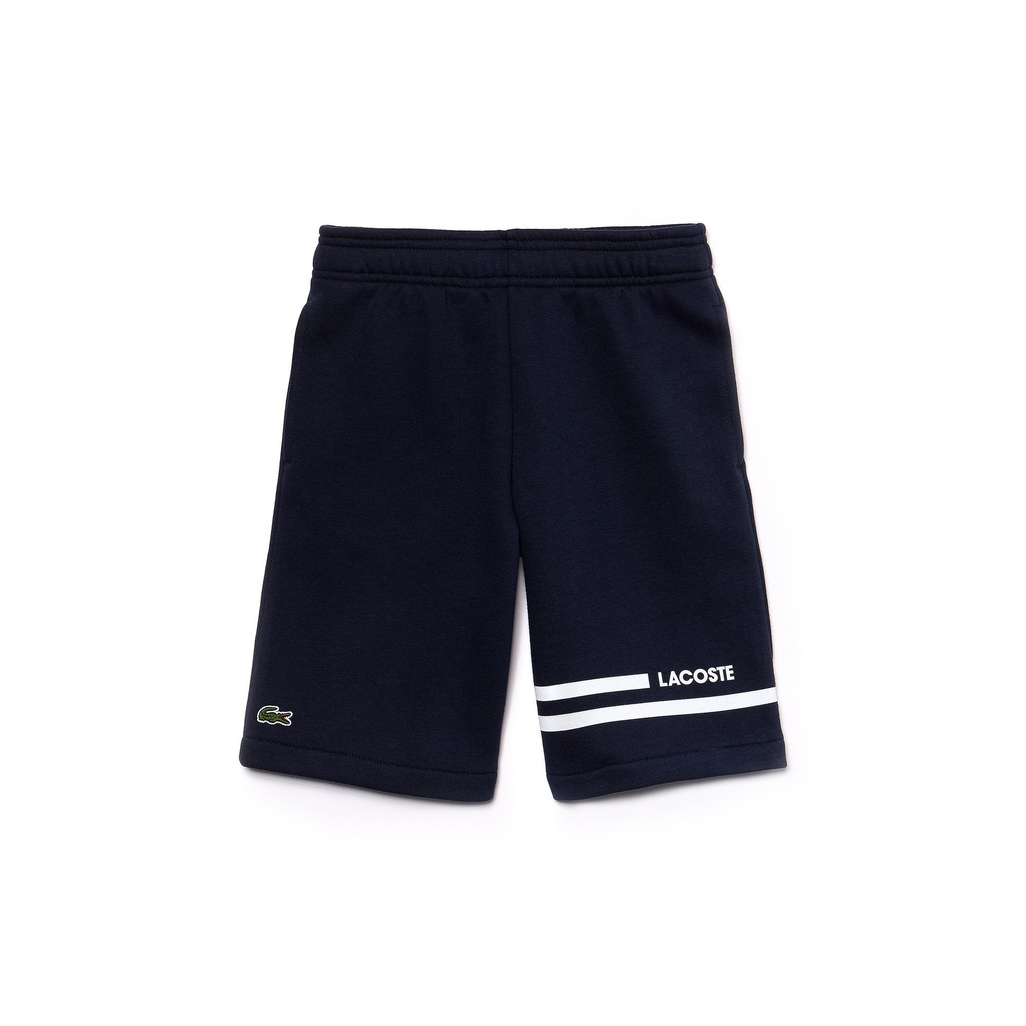 Short Garçon Tennis Lacoste SPORT en molleton bandes contrastées