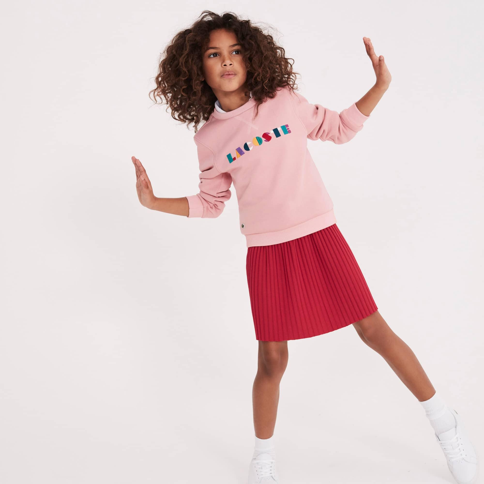 Sweatshirt Fille col rond en molleton uni avec broderie Lacoste colorée