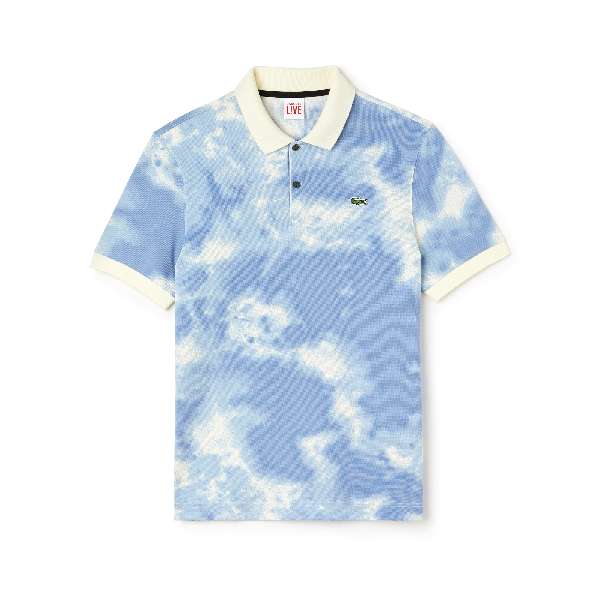 Polo regular fit Lacoste LIVE en mini piqué de coton imprimé nuages