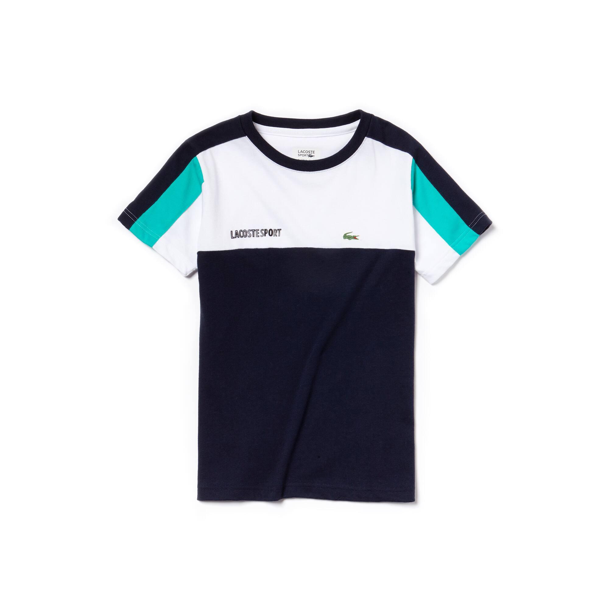 T-shirt col rond Garçon Tennis Lacoste SPORT en jersey technique color block