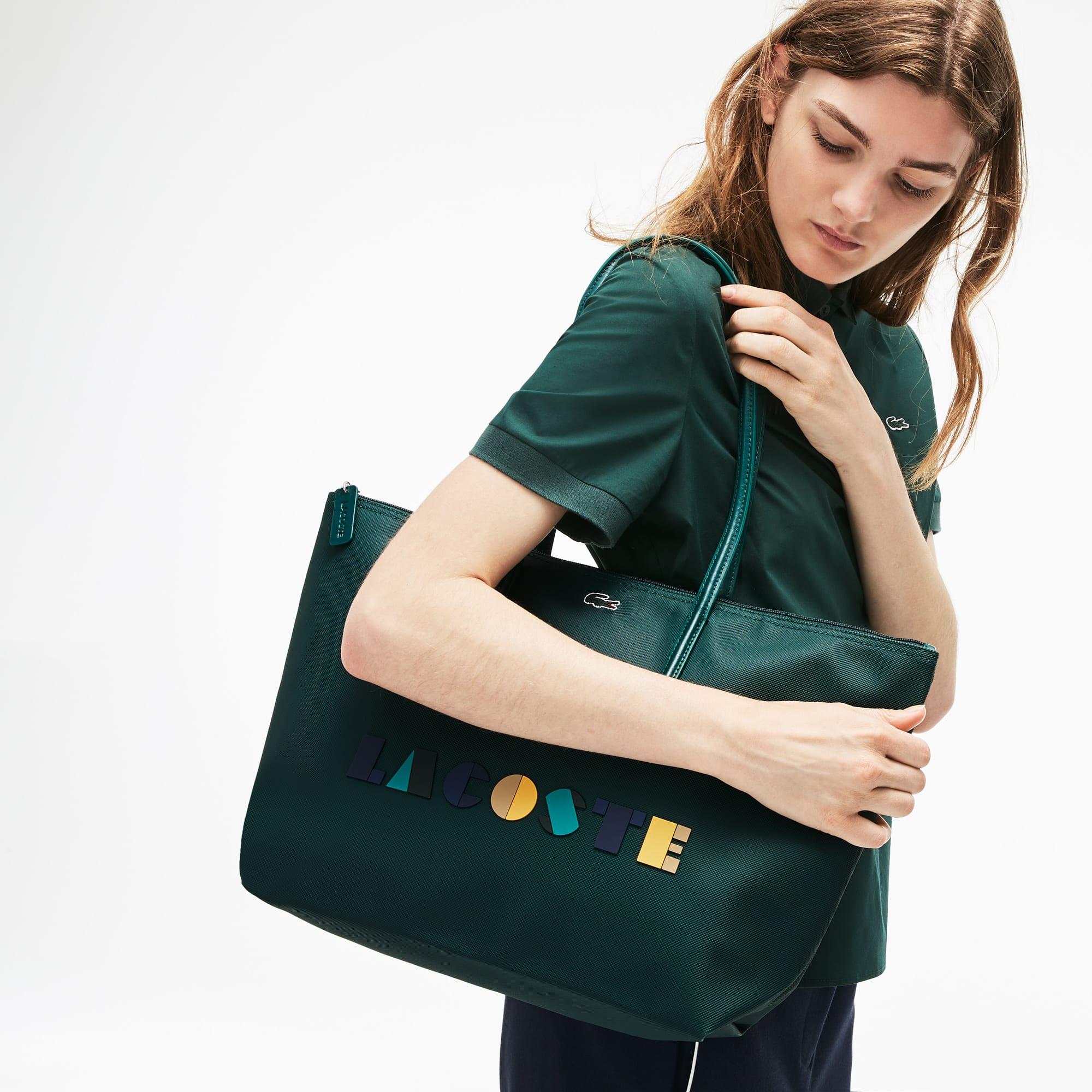 Grand sac cabas zippé L.12.12 Concept avec marquage Lacoste