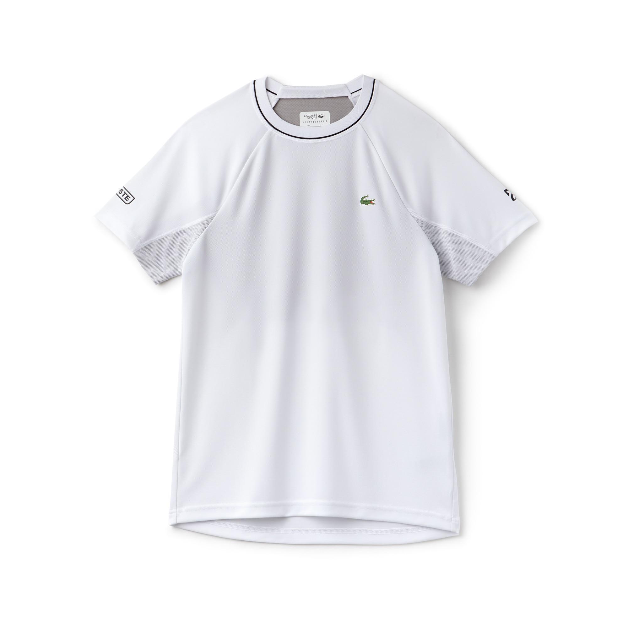 T-shirt col rond Lacoste SPORT COLLECTION NOVAK DJOKOVIC SUPPORT WITH STYLE en piqué technique et mesh