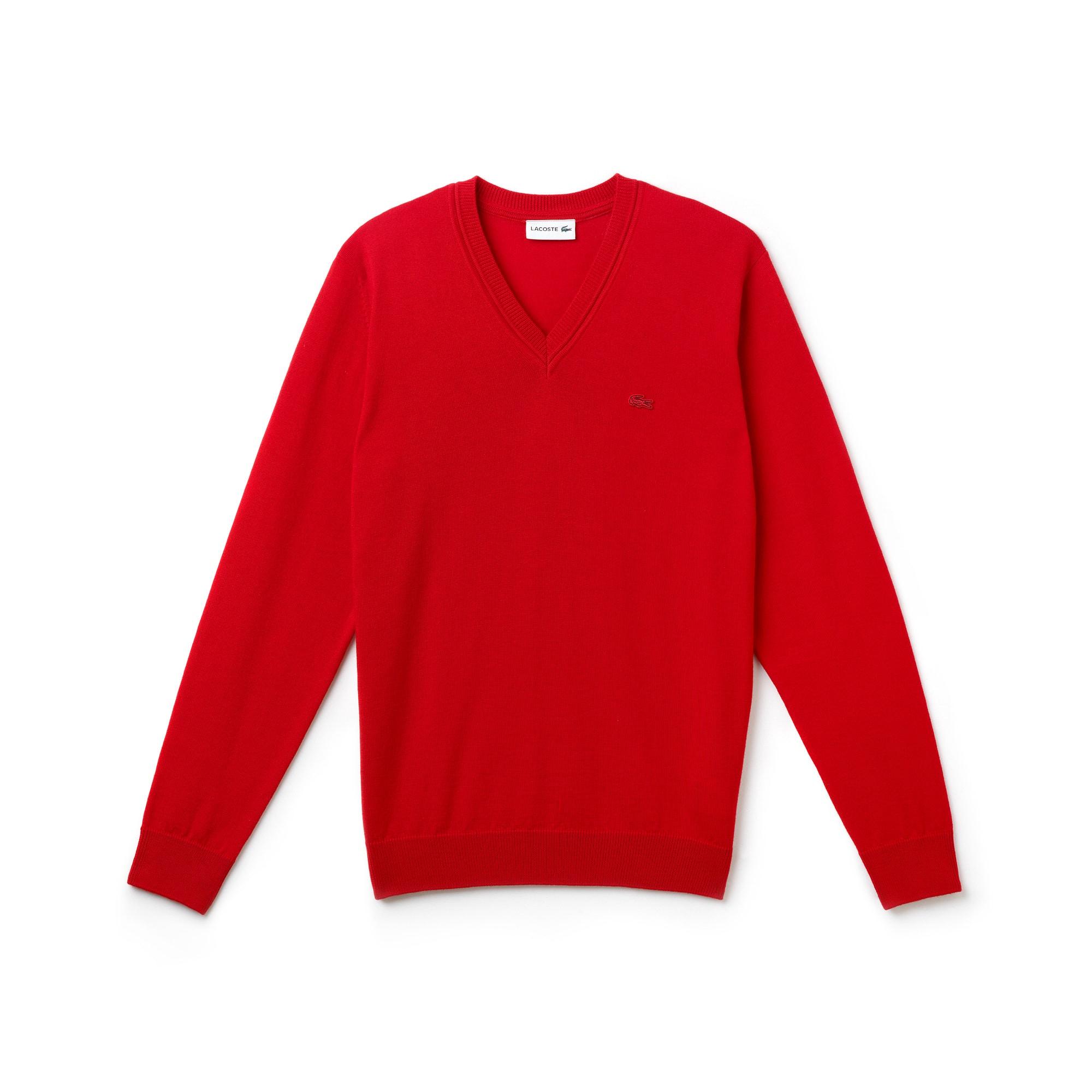 Pull col V en jersey de laine uni