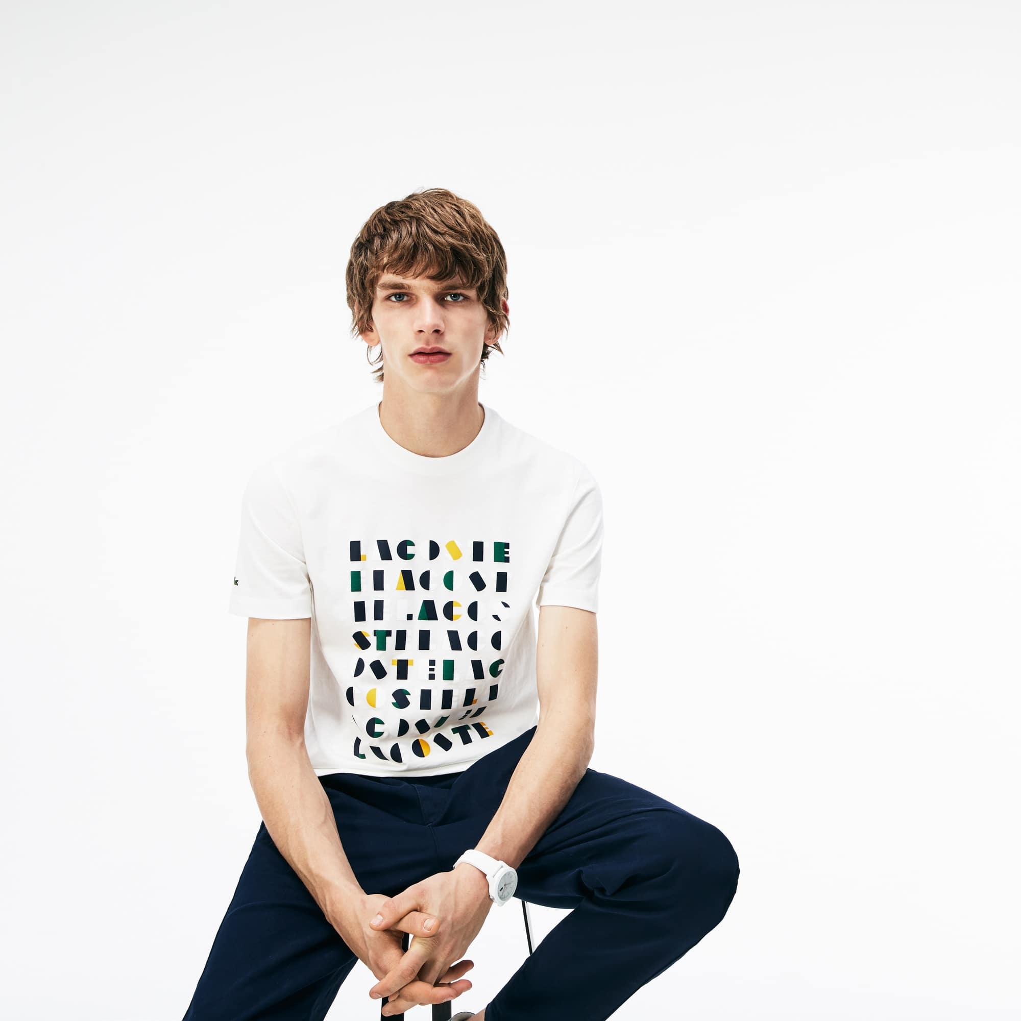 T-shirt col rond en jersey de coton avec marquage relief