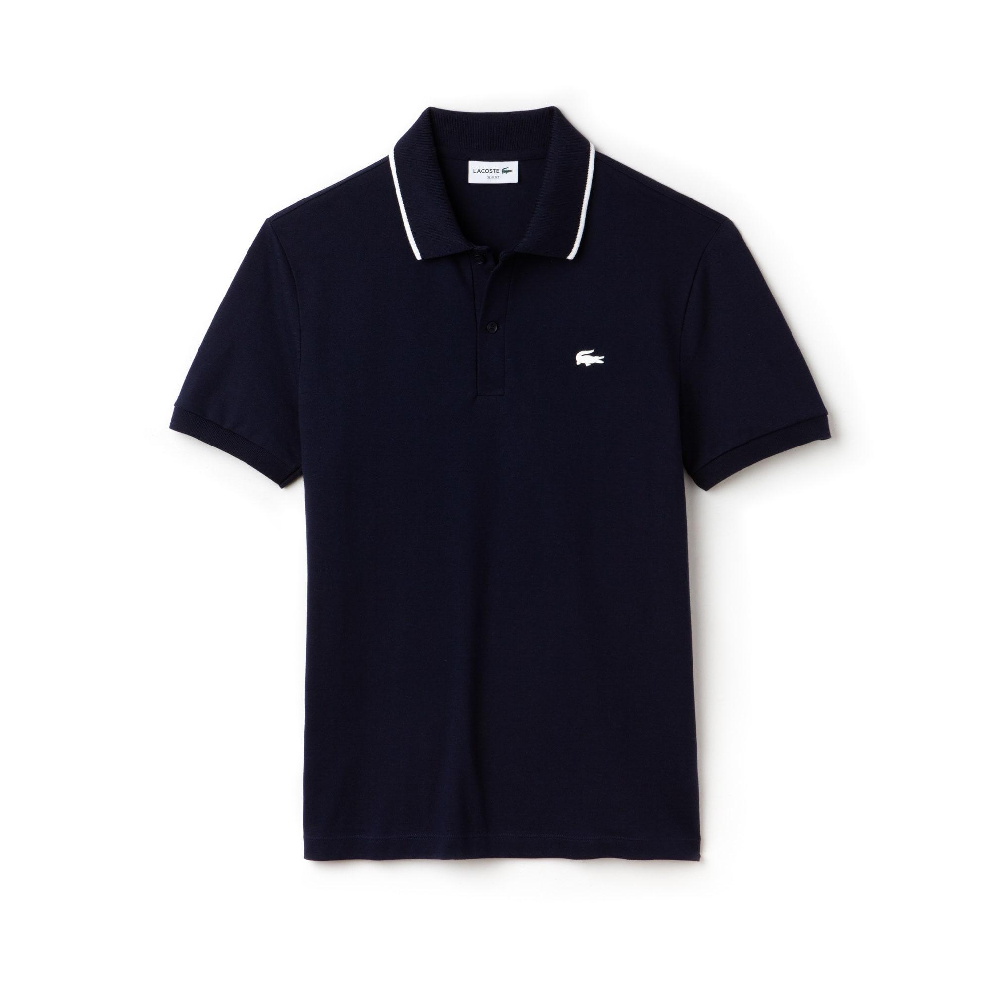 Polo slim fit Lacoste en coton pima stretch avec piping au col