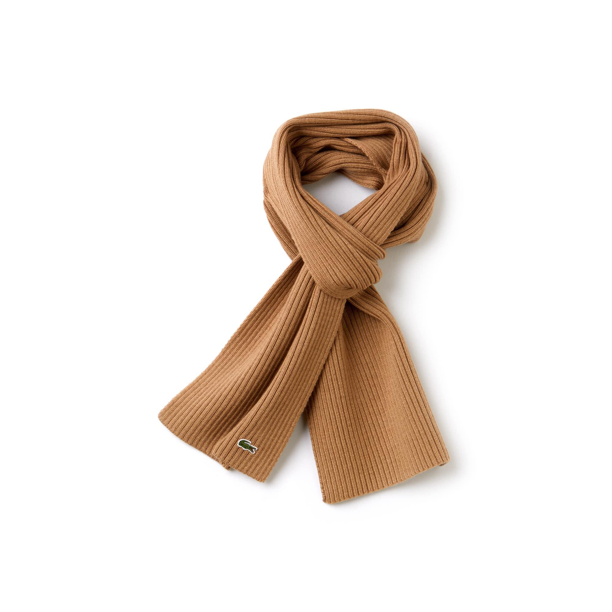 Écharpe en laine côtelée unie