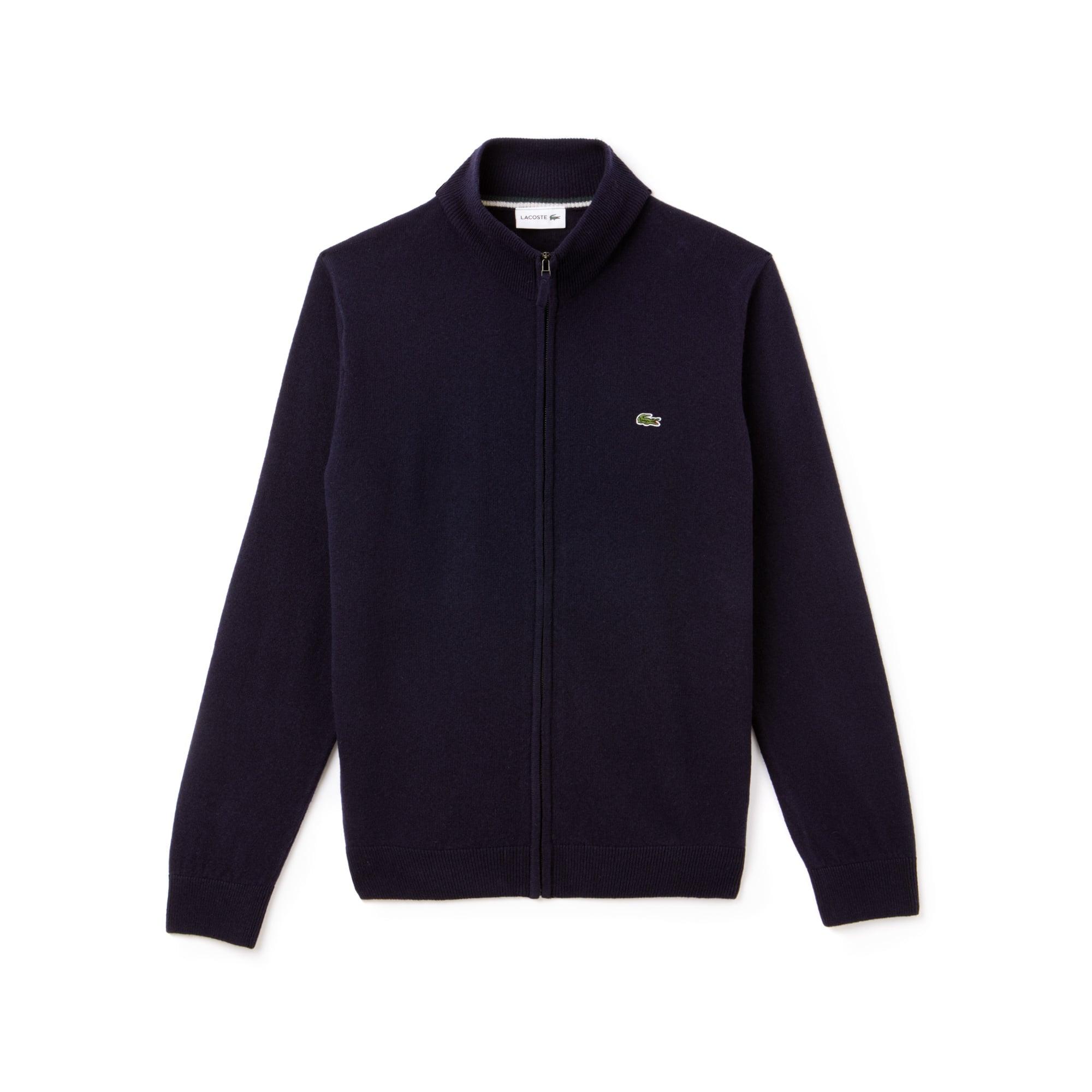 Gilet zippé col montant en jersey de laine uni