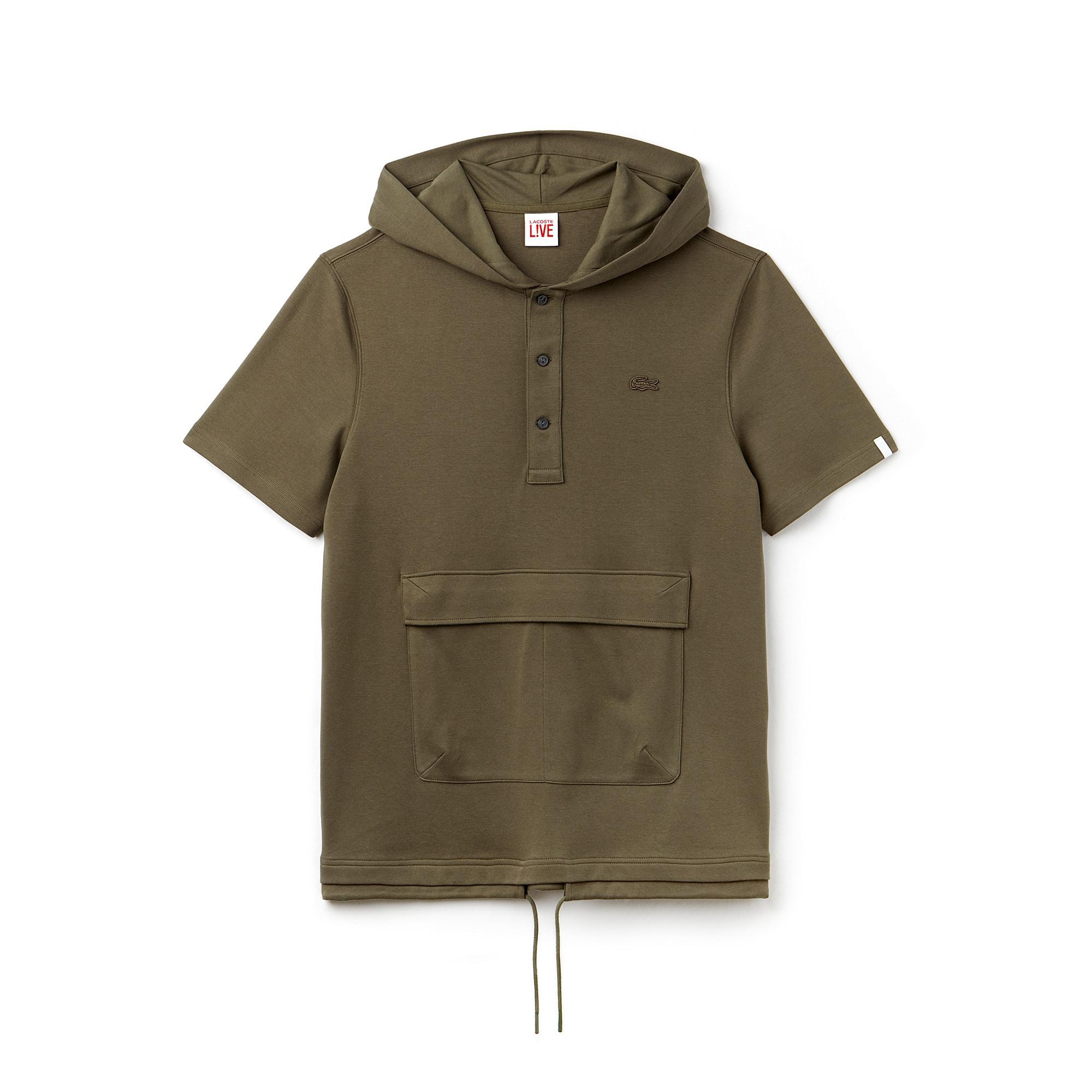Sweatshirt à capuche Lacoste LIVE à manches courtes en interlock uni