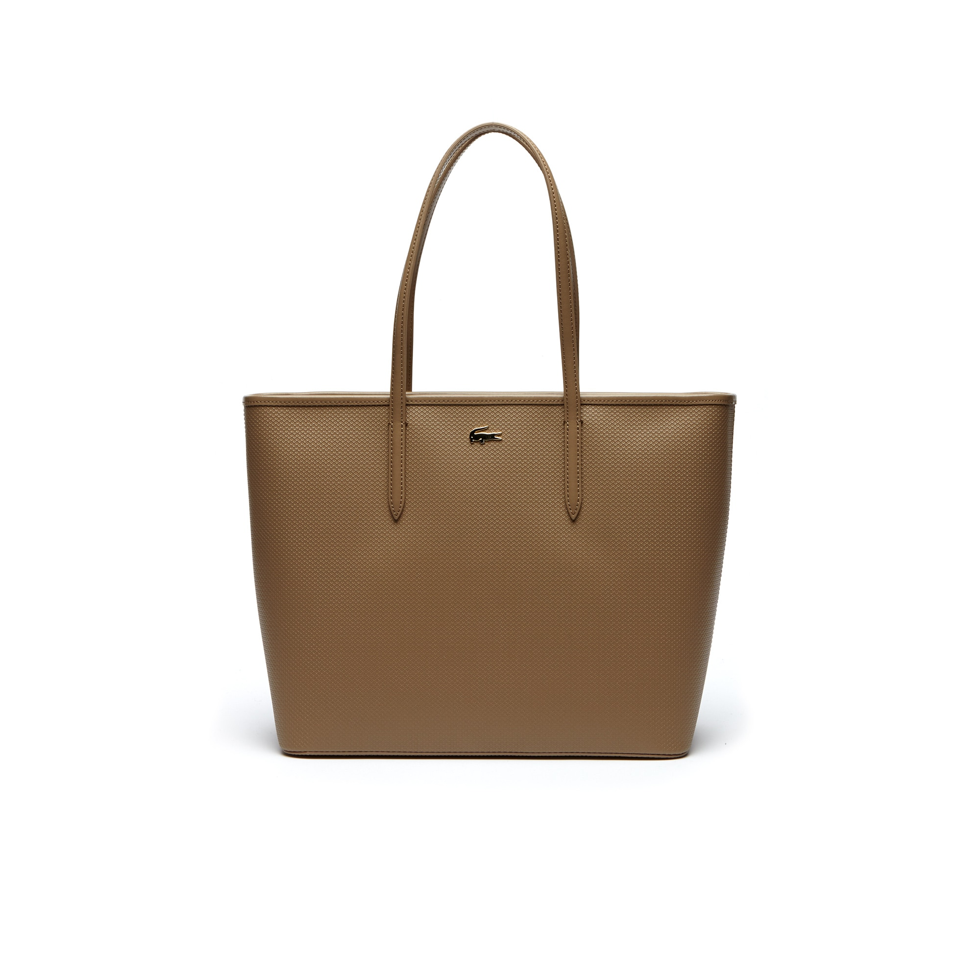 Grand sac cabas zippé Chantaco en cuir piqué uni