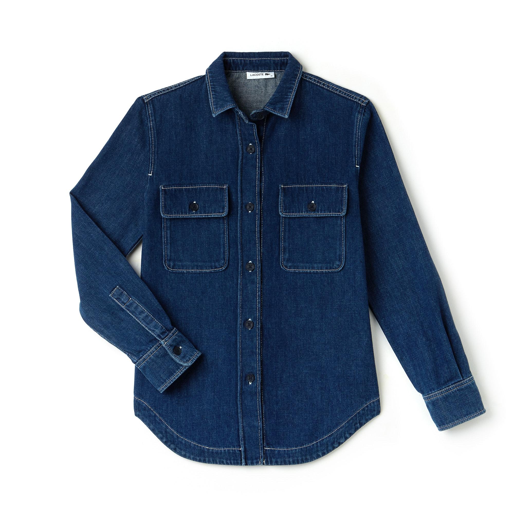 Chemise regular fit en jean avec coutures contrastées