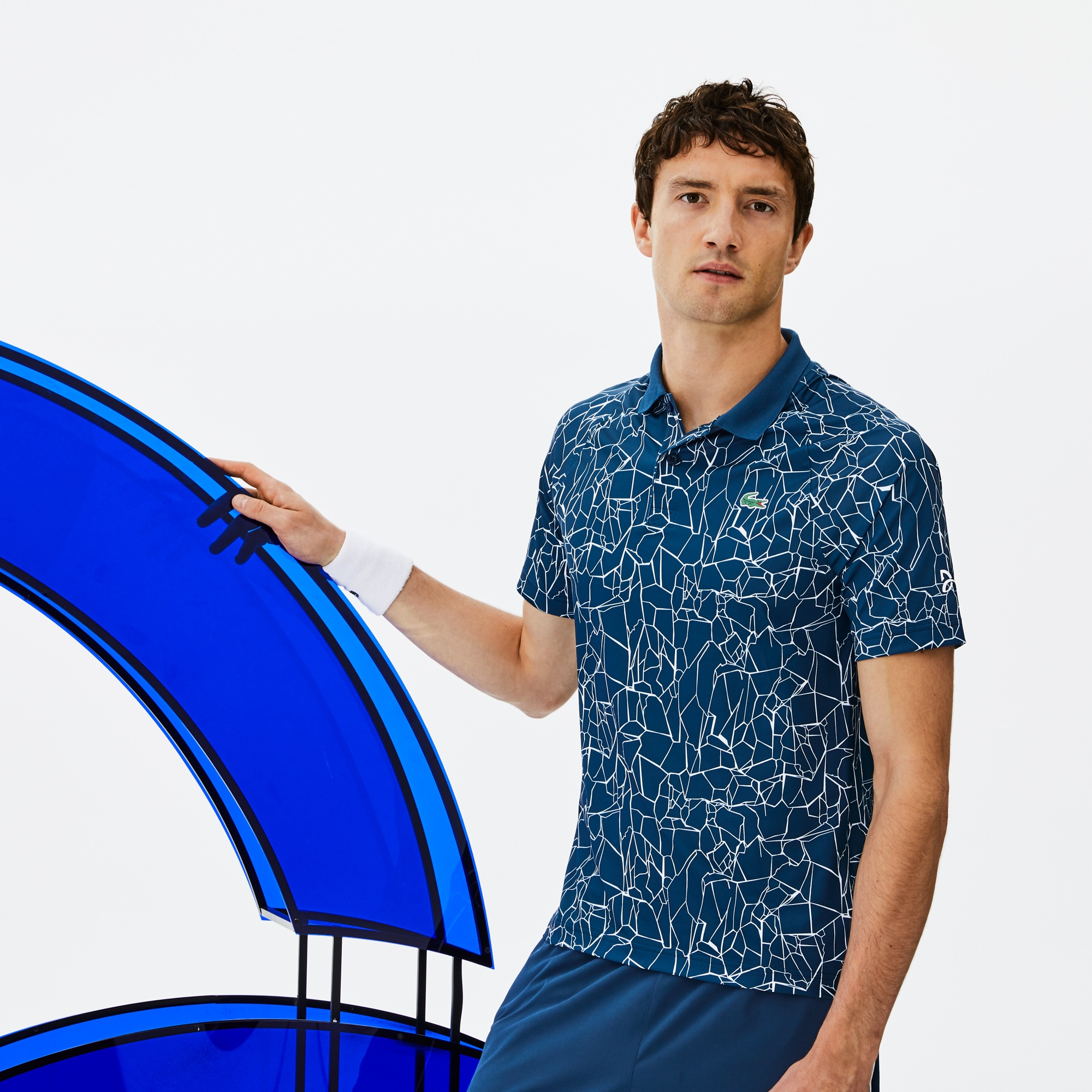 Polo Lacoste SPORT Collection Novak Djokovic - Off Court en jersey technique imprimé