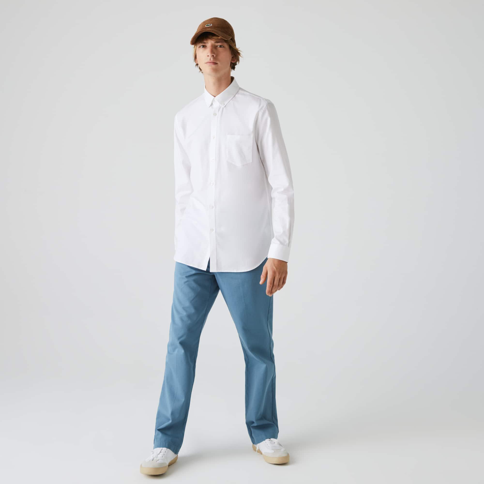 Chemise regular fit en mini piqué de coton uni