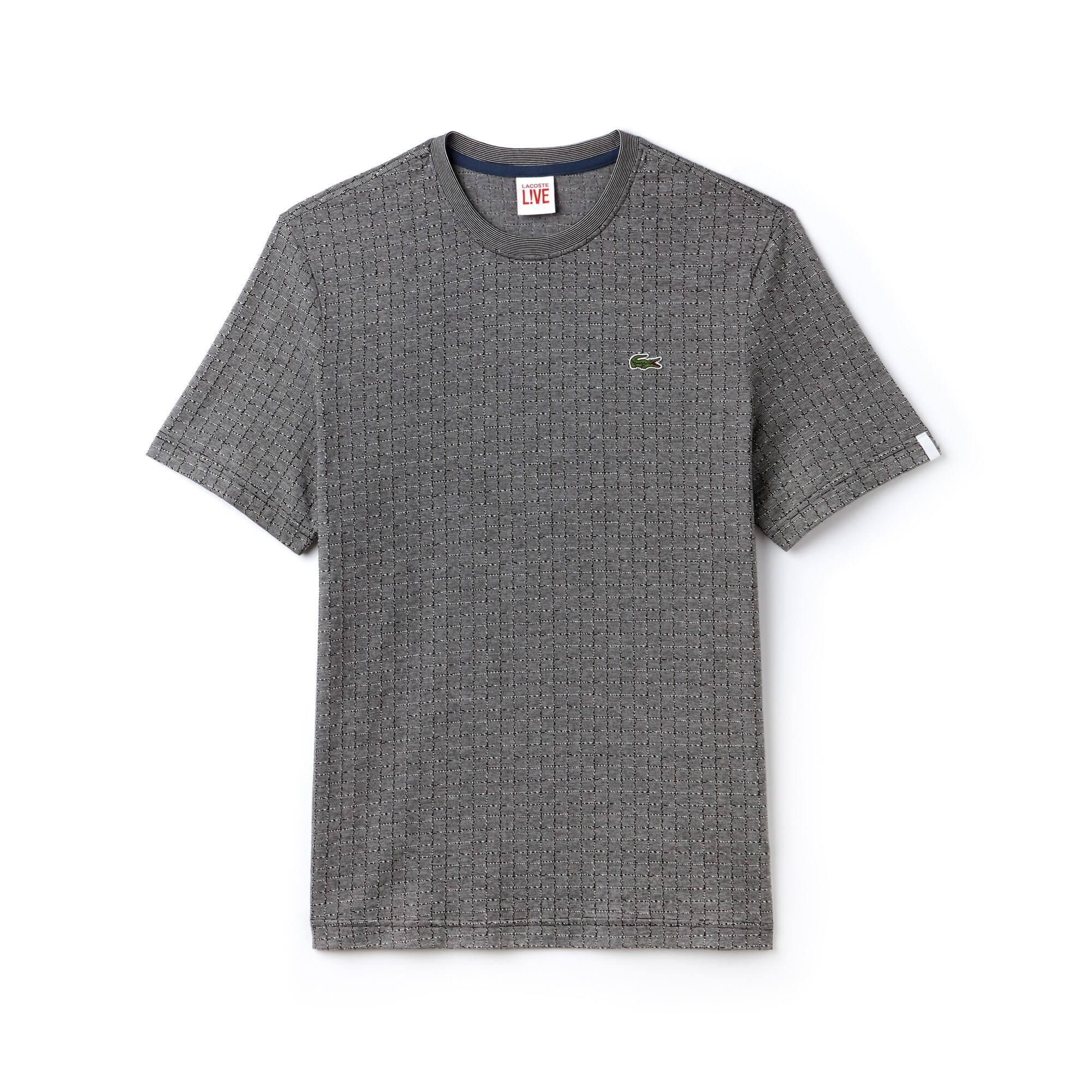 T-shirt col rond Lacoste LIVE en jacquard de coton imprimé