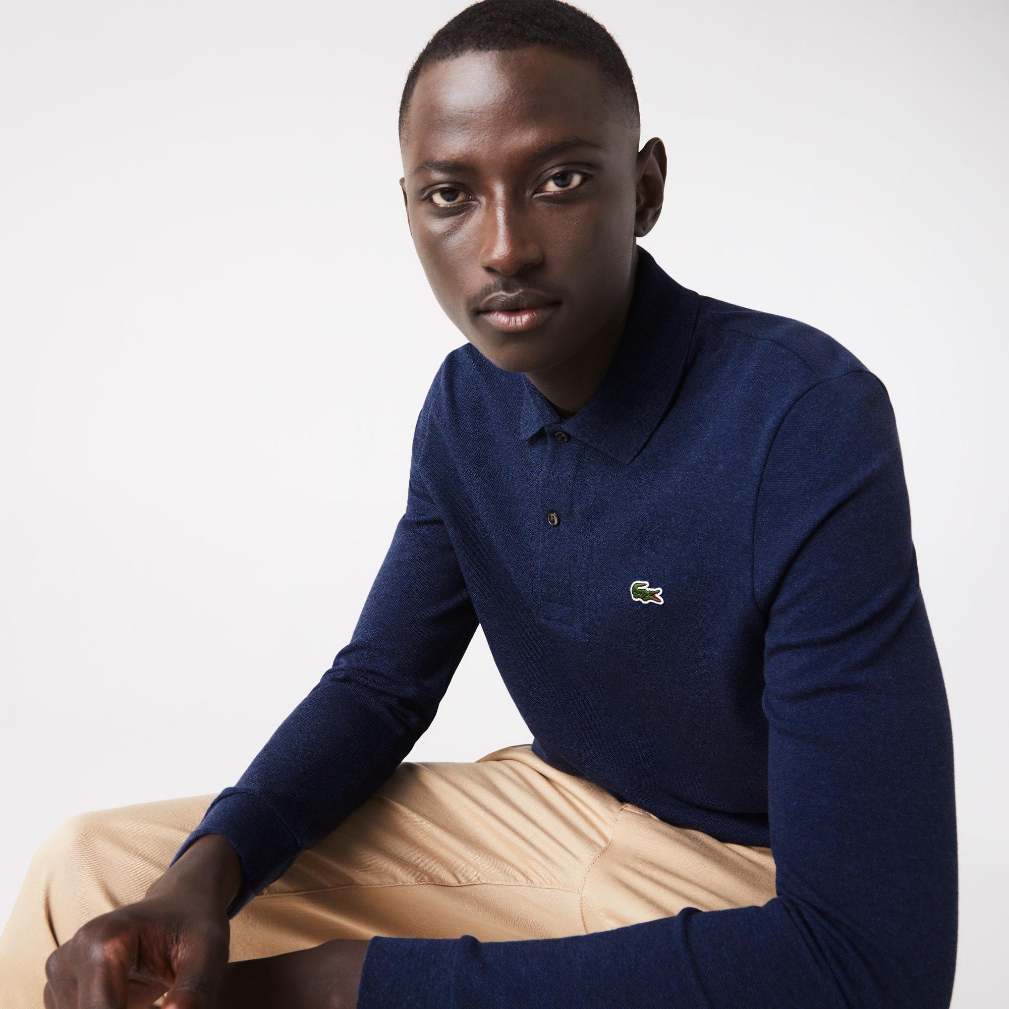Polo Lacoste classic fit en petit piqué chiné à manches longues