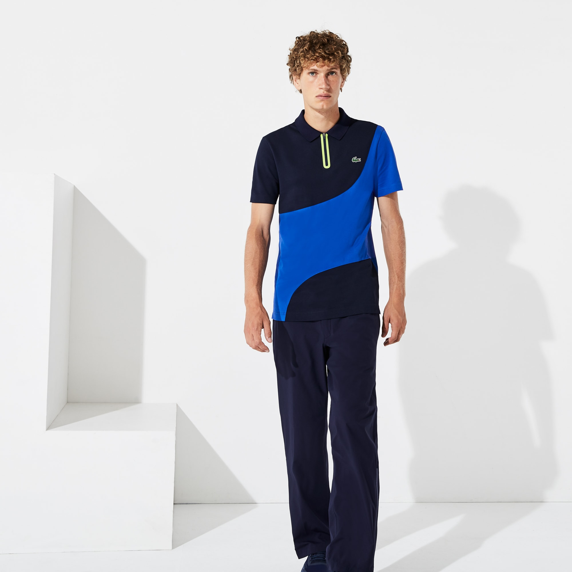 Polo zippé Golf Lacoste SPORT en piqué respirant color-block