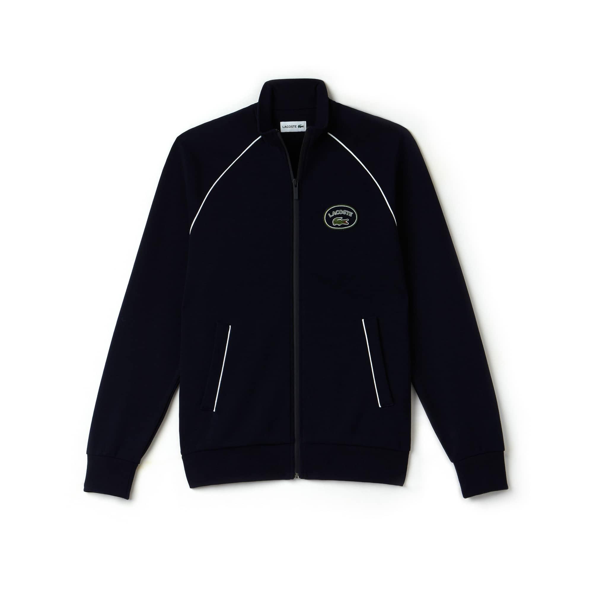Sweatshirt zippé col montant en coton milano avec piping