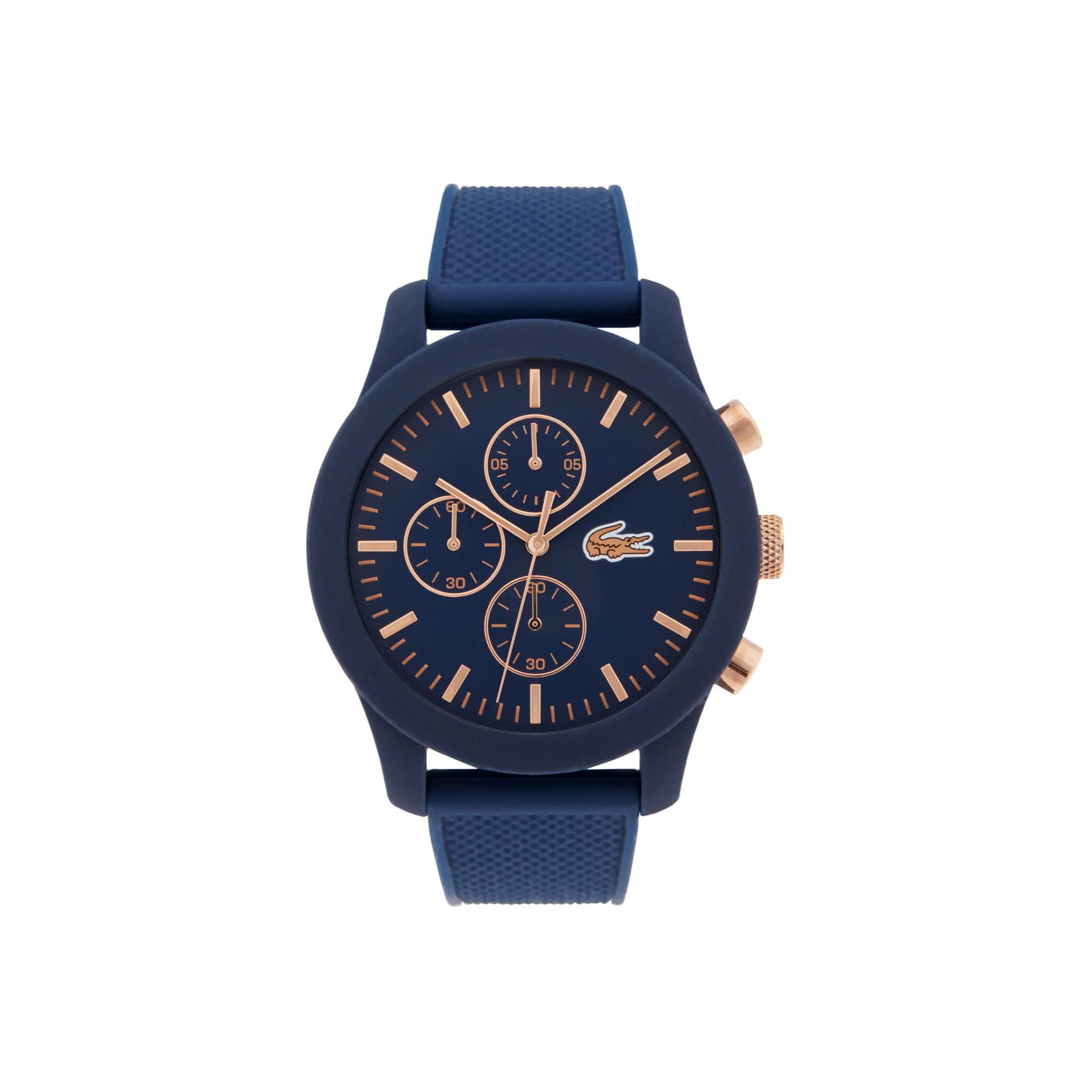 Montre Chrono Lacoste12.12 Homme avec Bracelet Bleu en Silicone