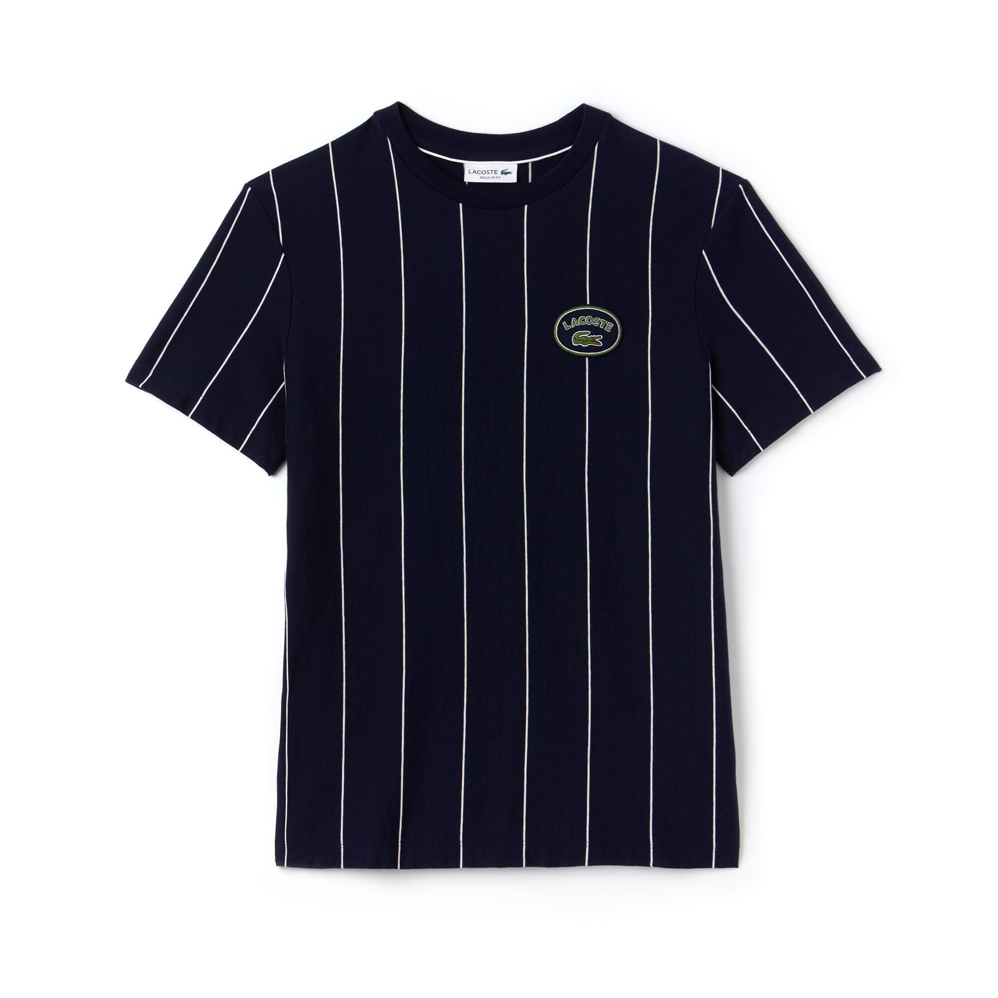 T-shirt col rond en jersey de coton à rayures verticales