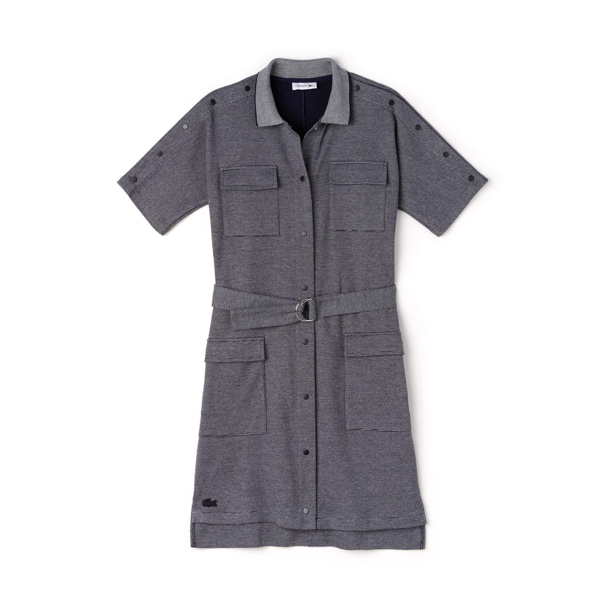 Robe chemise boutonnée et ceinturée en piqué milleraies