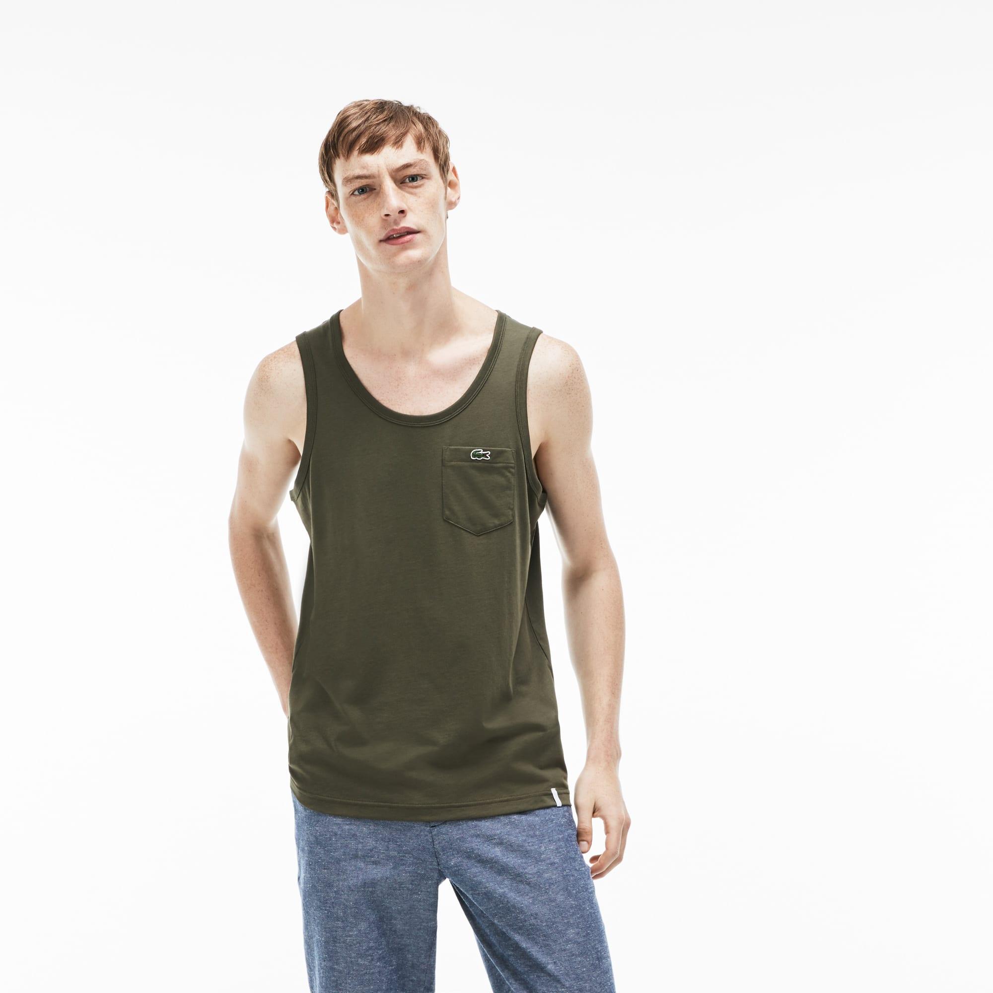 Débardeur Lacoste LIVE en jersey de coton uni avec poche