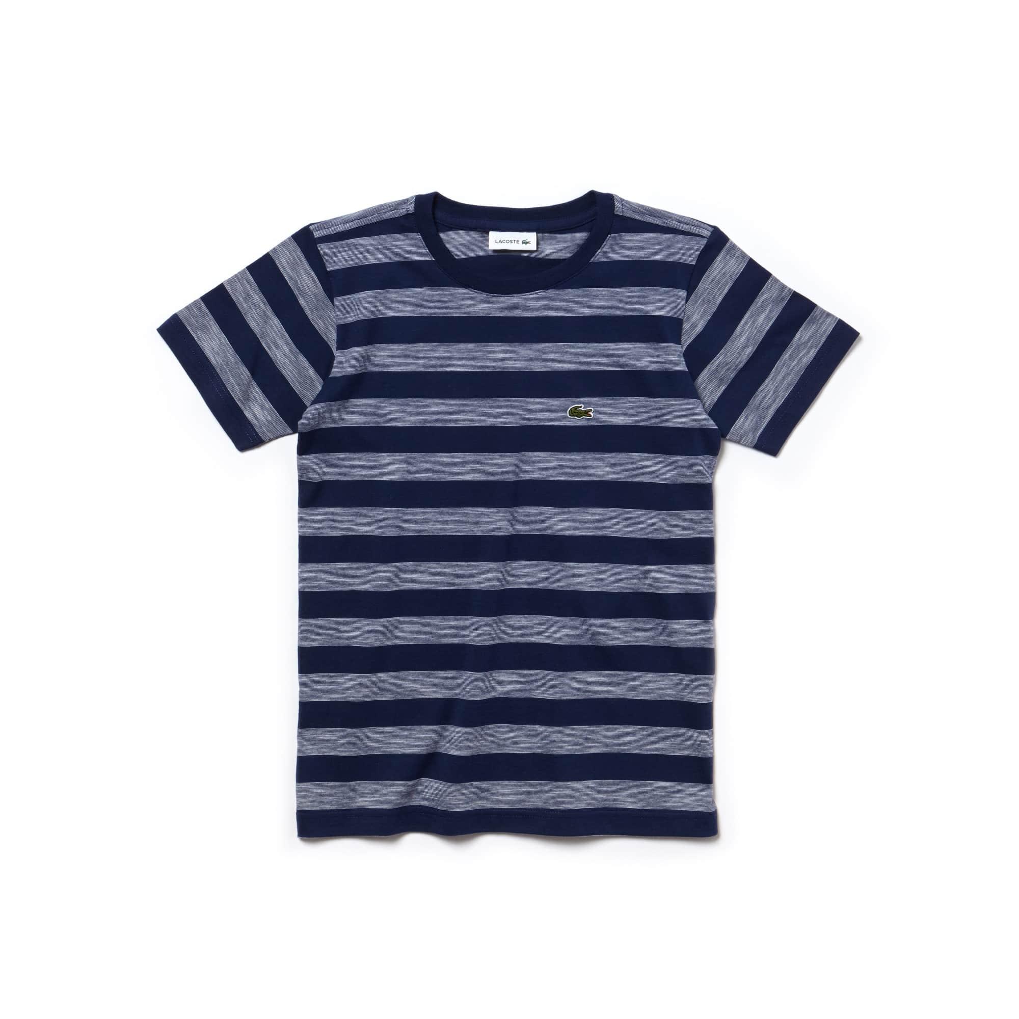 T-shirt Garçon col rond en jersey de coton à rayures