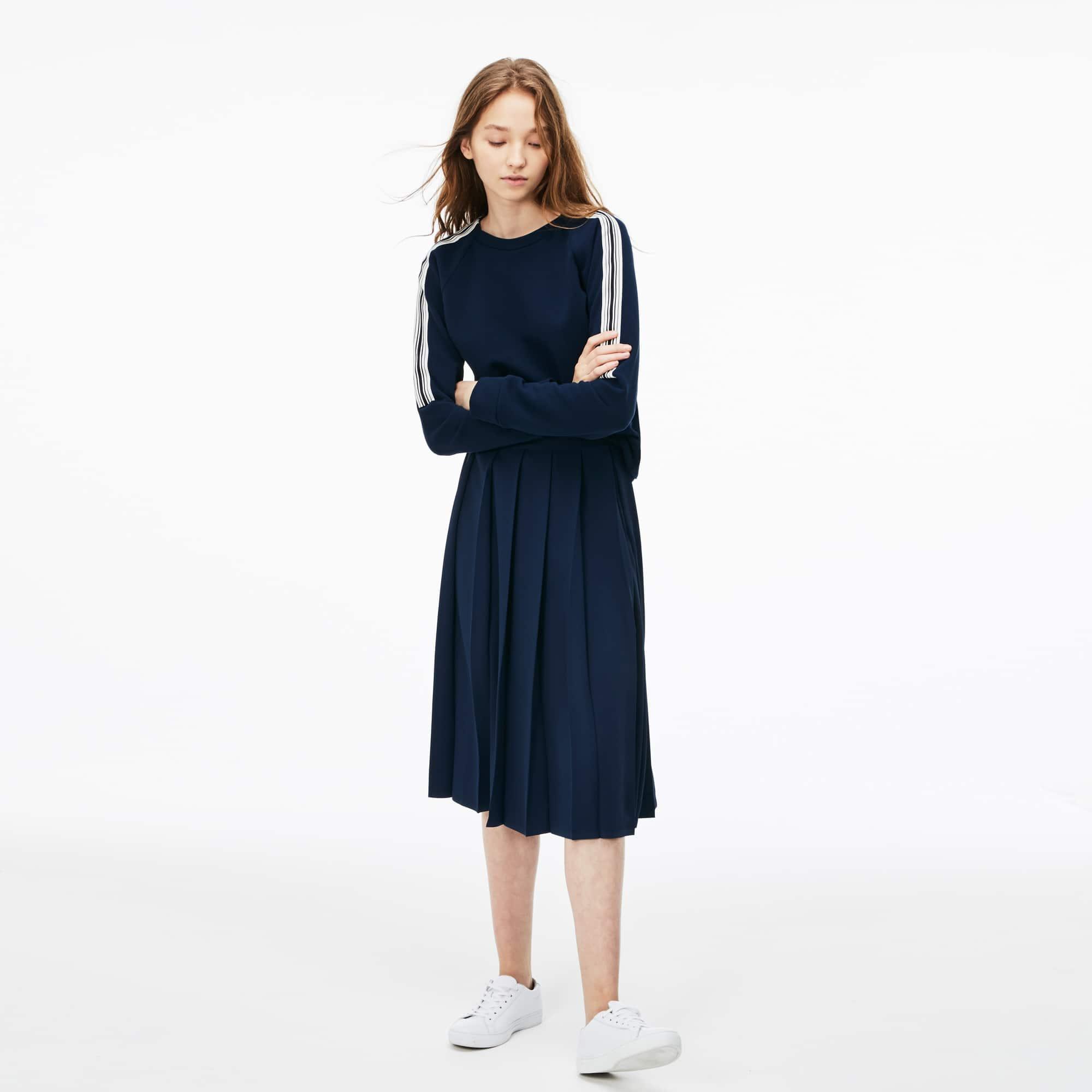 Jupe longue plissée en crêpe mousseline uni
