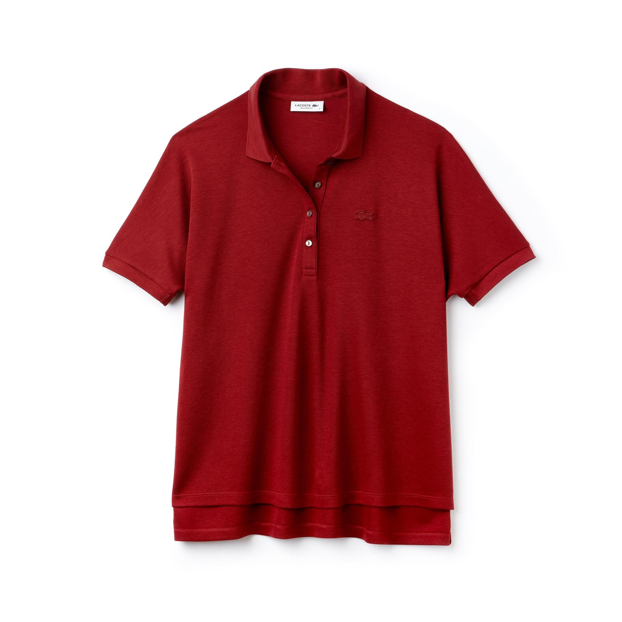 Soft Polo relax fit Lacoste en piqué fluide de coton stretch uni