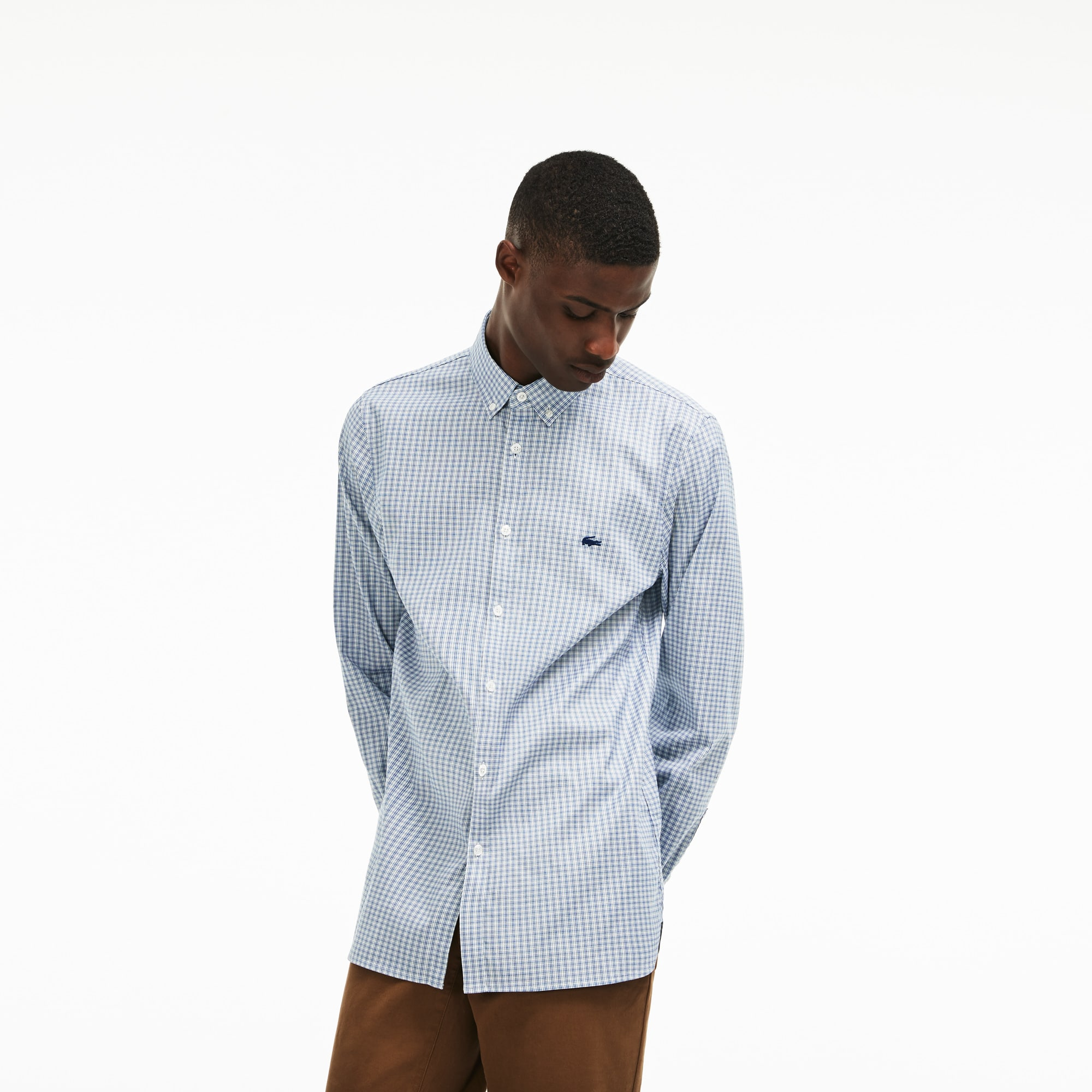Chemise slim fit en pinpoint de coton stretch à carreaux