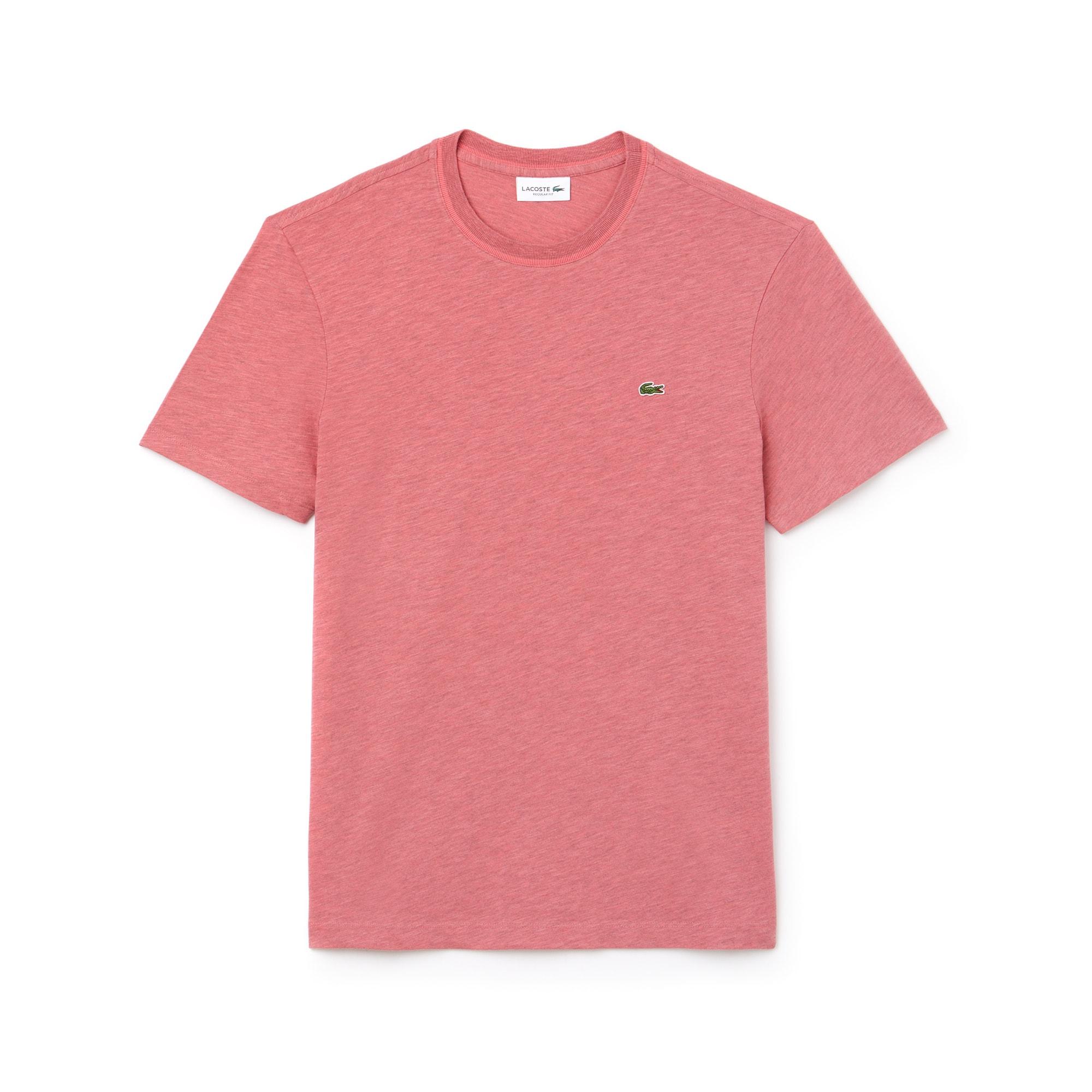 T-shirt col rond en jersey de coton flammé uni